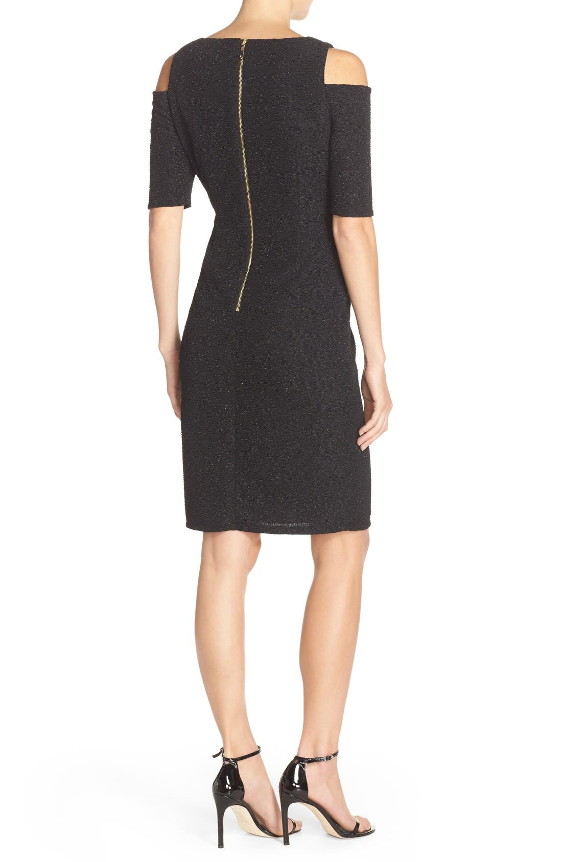 Alternate Image 2  - Eliza J Cold Shoulder Sparkle Knit Sheath Dress