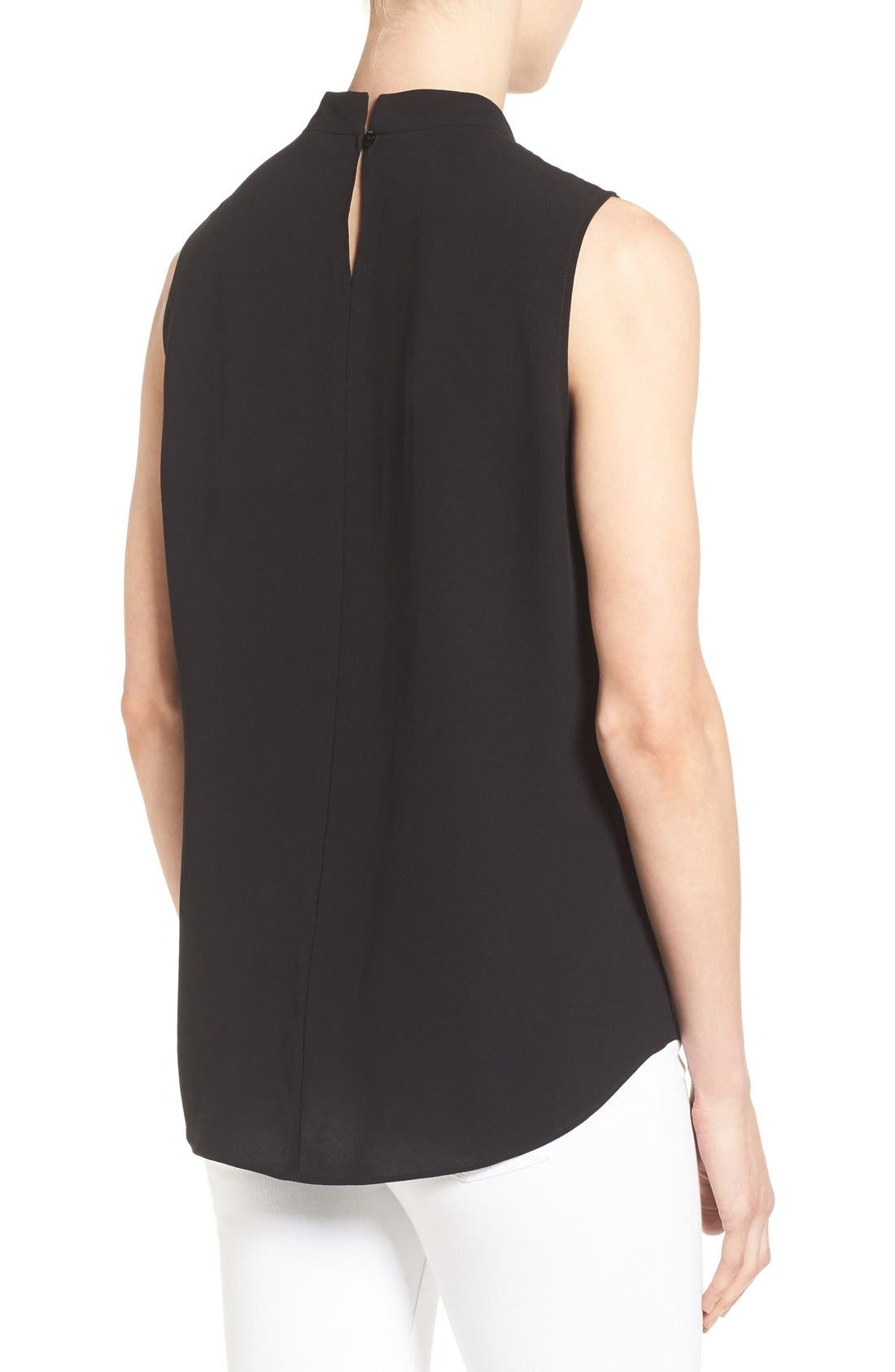 Silk Crepe High Neck Sleeveless Blouse,                             Alternate thumbnail 2, color,                             Black
