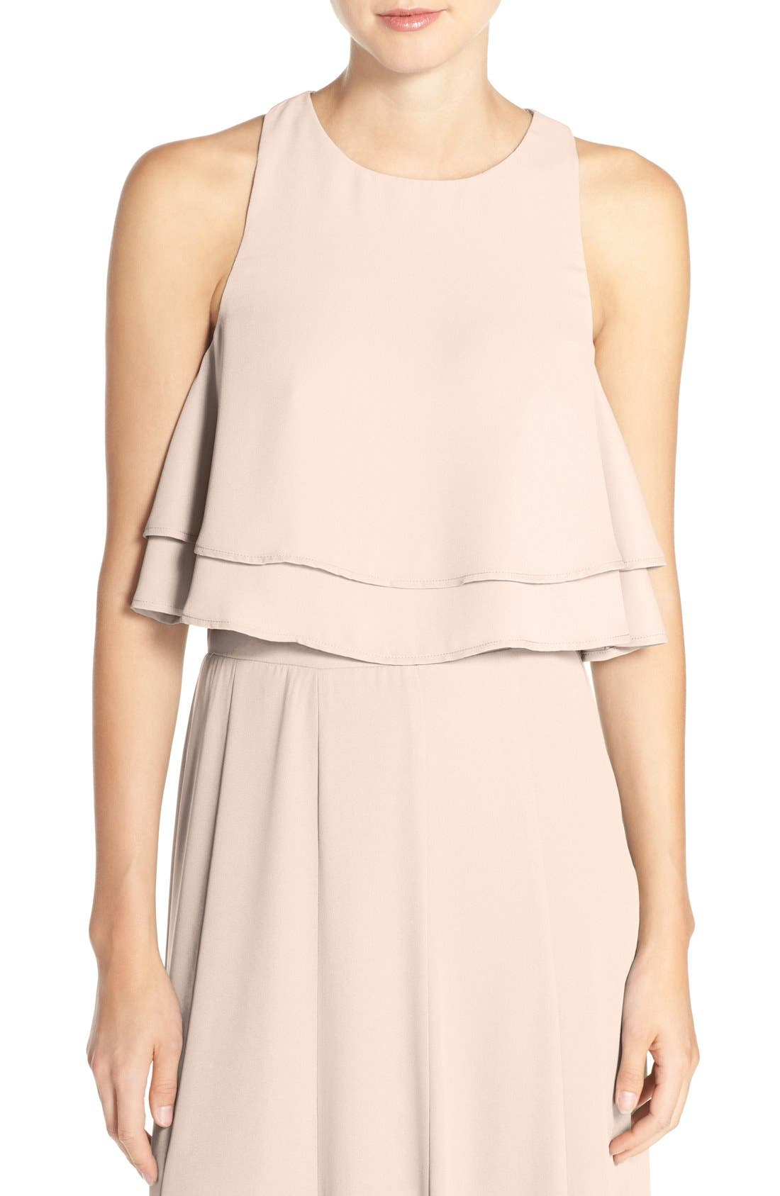 'King' Tiered Chiffon Crop Top,                         Main,                         color, Show Me The Ring Crisp