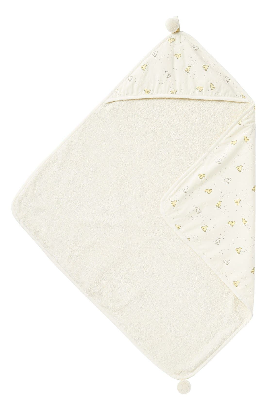 Baby Chick Print Hooded Towel,                         Main,                         color, Cream