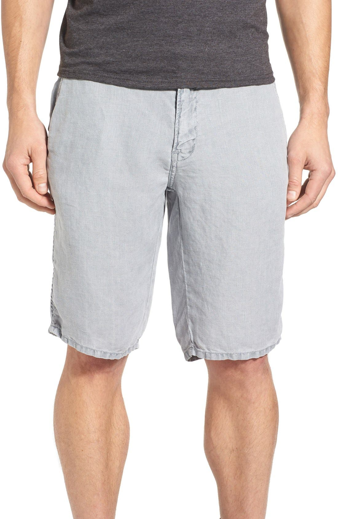 'Havana' Linen Shorts,                             Main thumbnail 1, color,                             Lite Grey