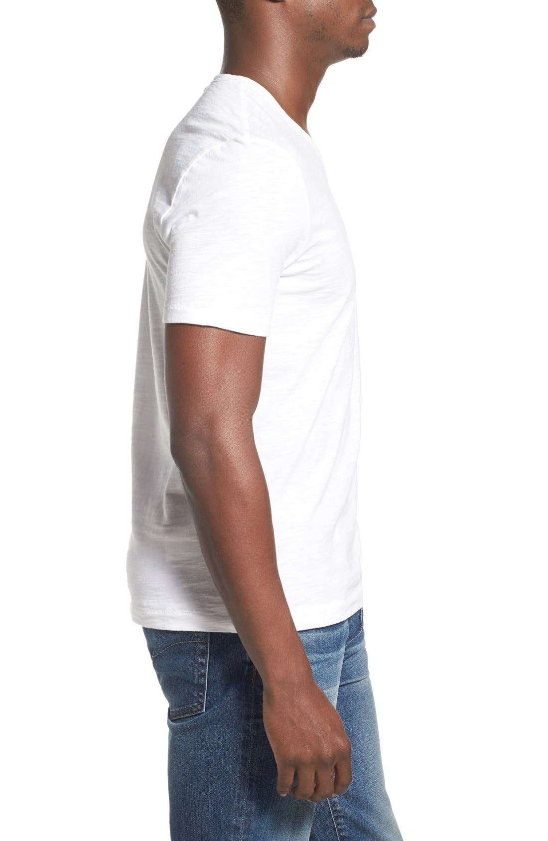 'Bing' V-Neck Pocket T-Shirt,                             Alternate thumbnail 3, color,                             Bright White