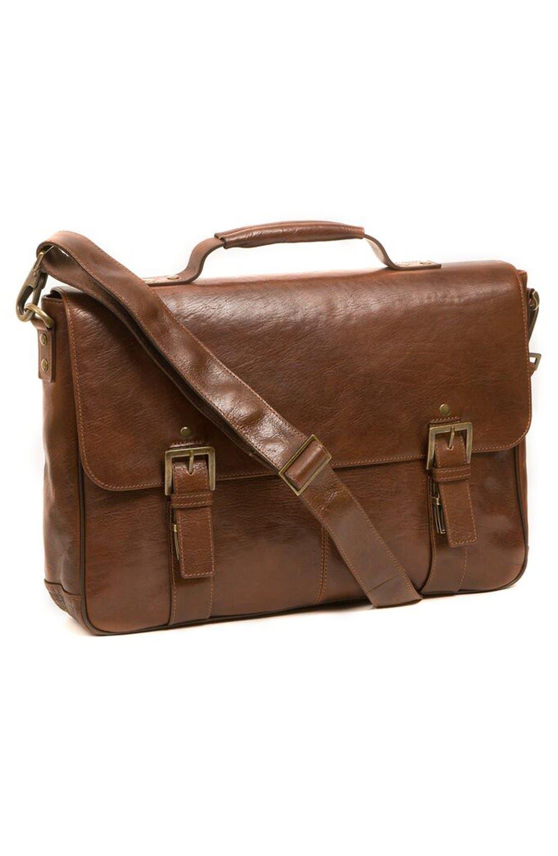 'Becker' Leather Messenger Bag,                             Alternate thumbnail 4, color,                             Whiskey W/ Khaki