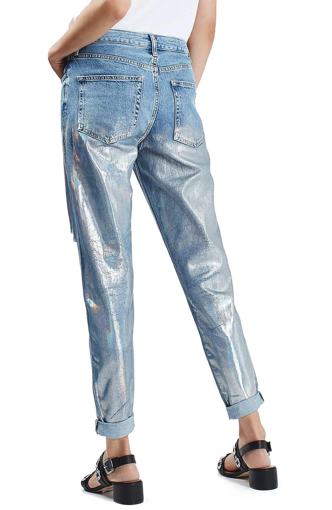Alternate Image 2  - Topshop 'Hayden' Metallic Distressed Boyfriend Jeans (Regular & Petite)