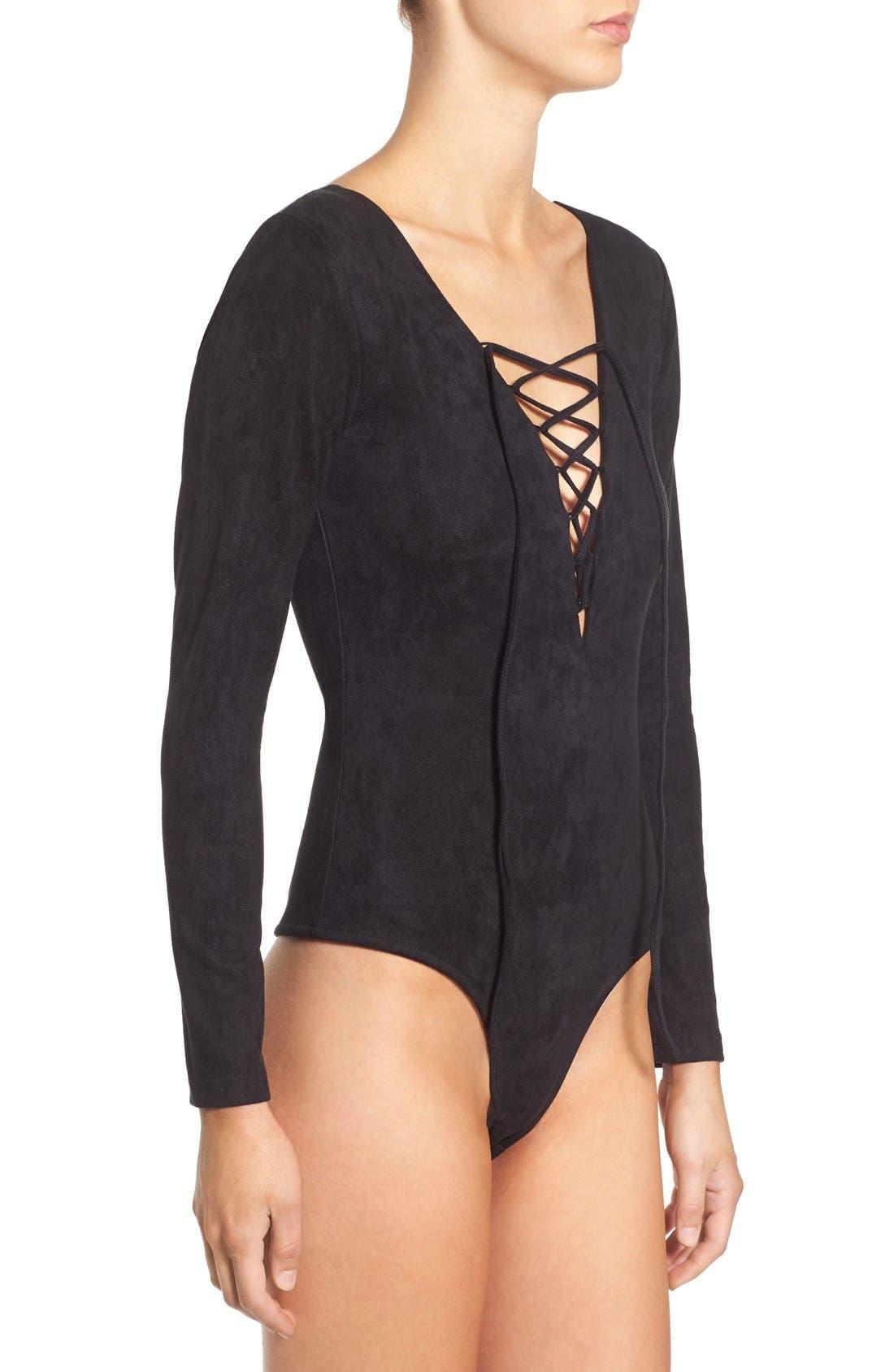 Alternate Image 4  - Glamorous Lace-Up Faux Suede Bodysuit