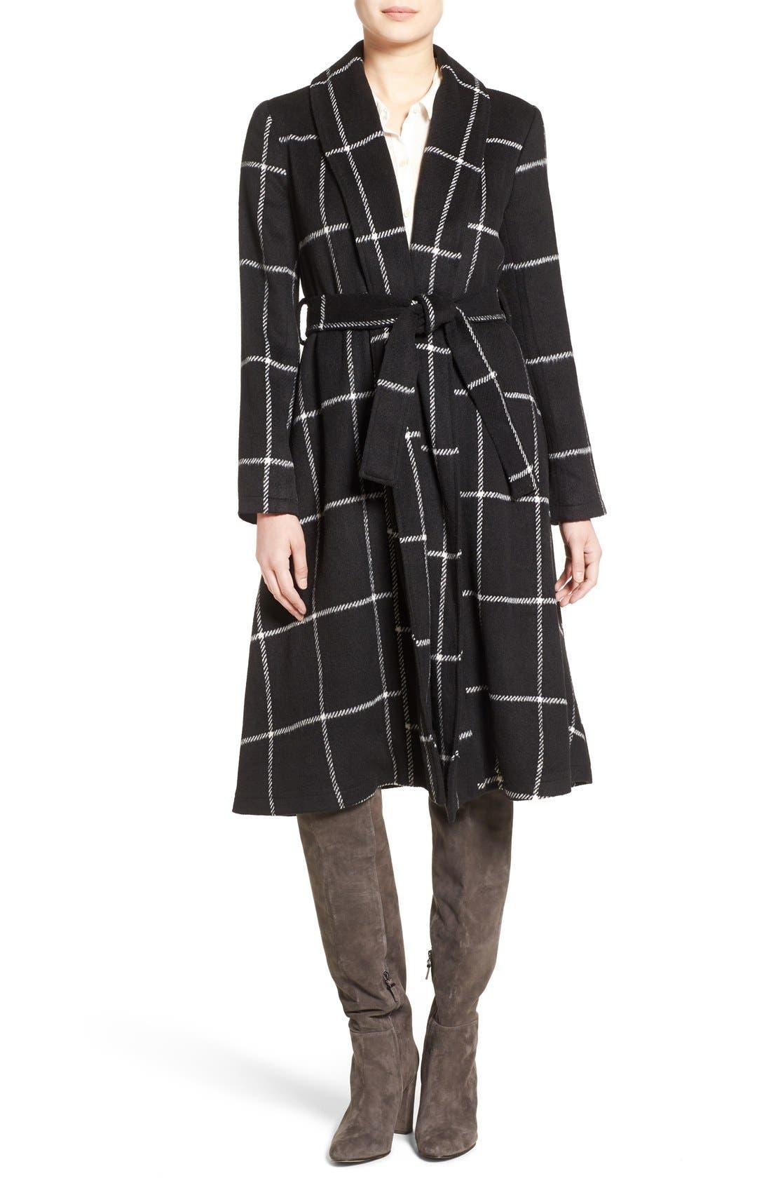 'Braylee' Windowpane Plaid Midi Coat,                         Main,                         color, Black