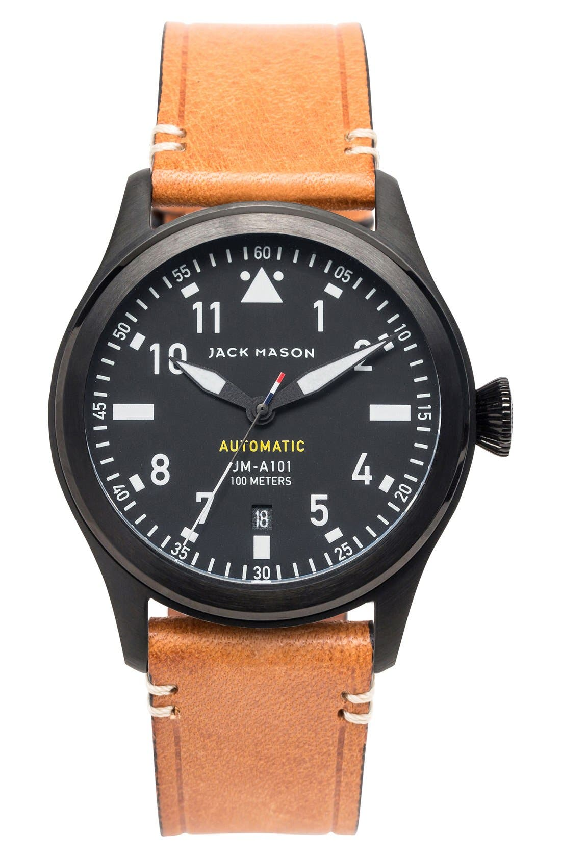 Aviation Automatic Leather Strap Watch, 42mm,                             Main thumbnail 1, color,                             Black/ Black/ Tan