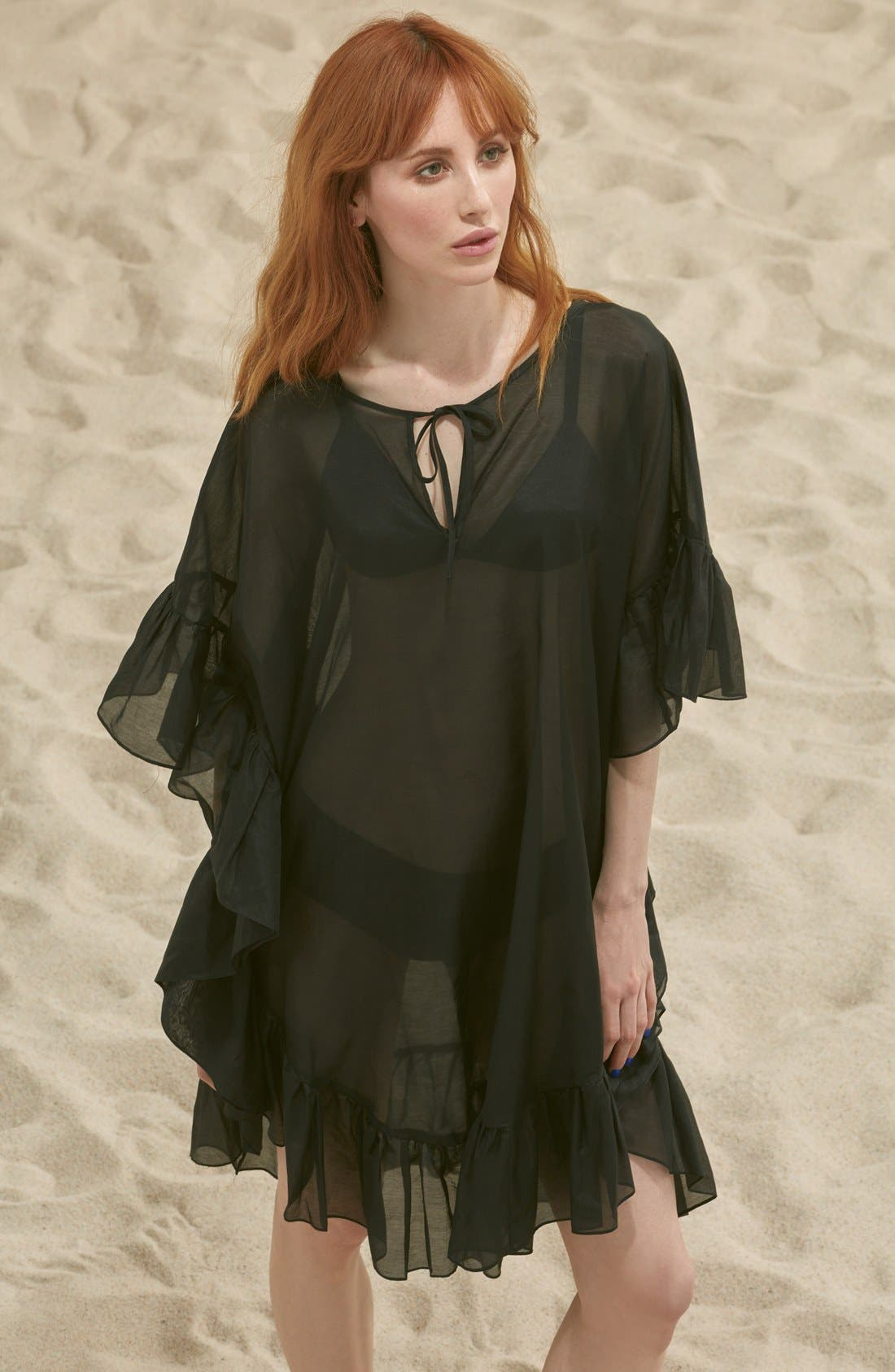 Main Image - Soler 'Yasmine' Frill Tie Cover-Up Caftan
