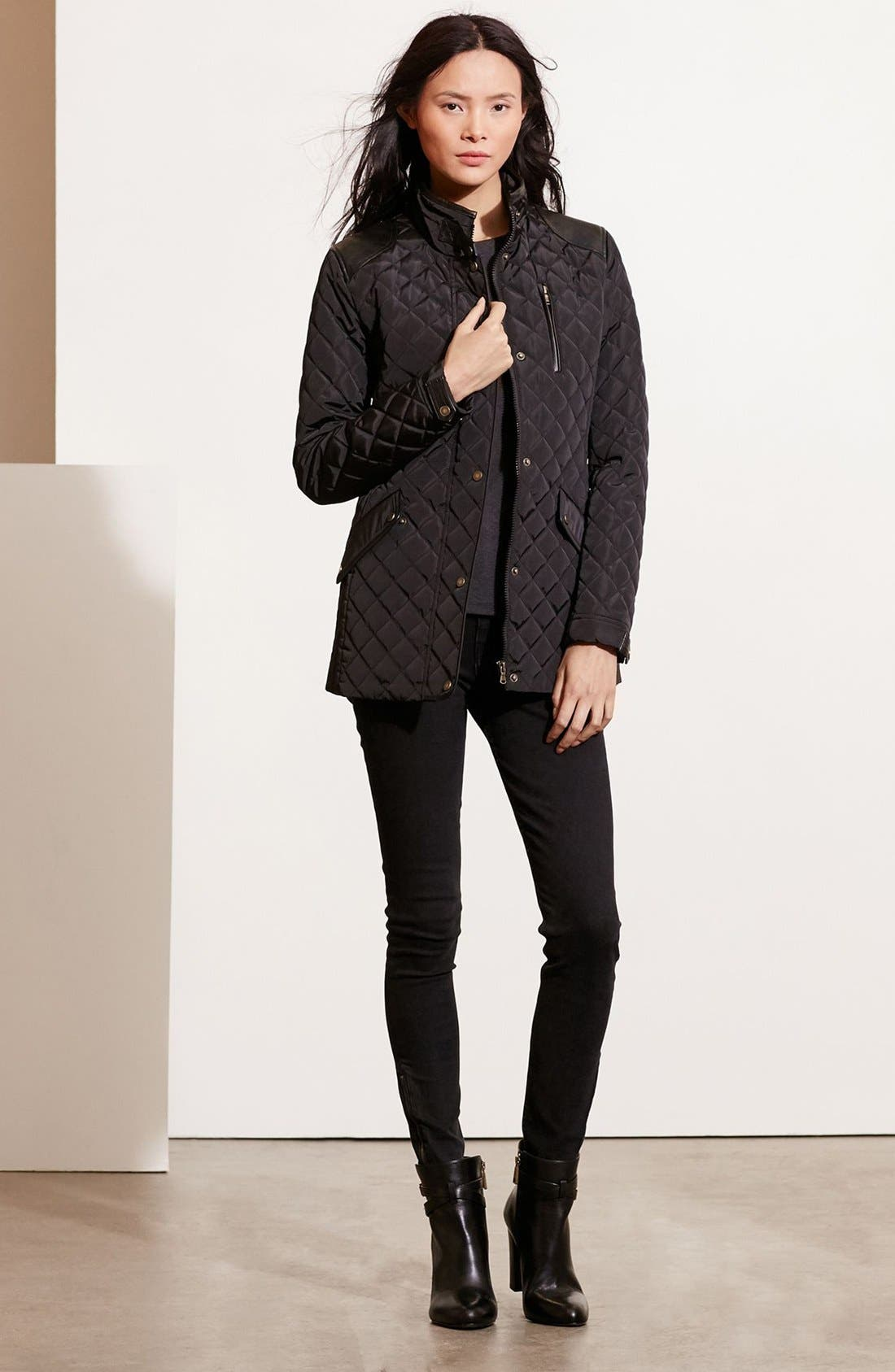 Main Image - Lauren Ralph Lauren Diamond Quilted Jacket with Faux Leather Trim (Regular & Petite)