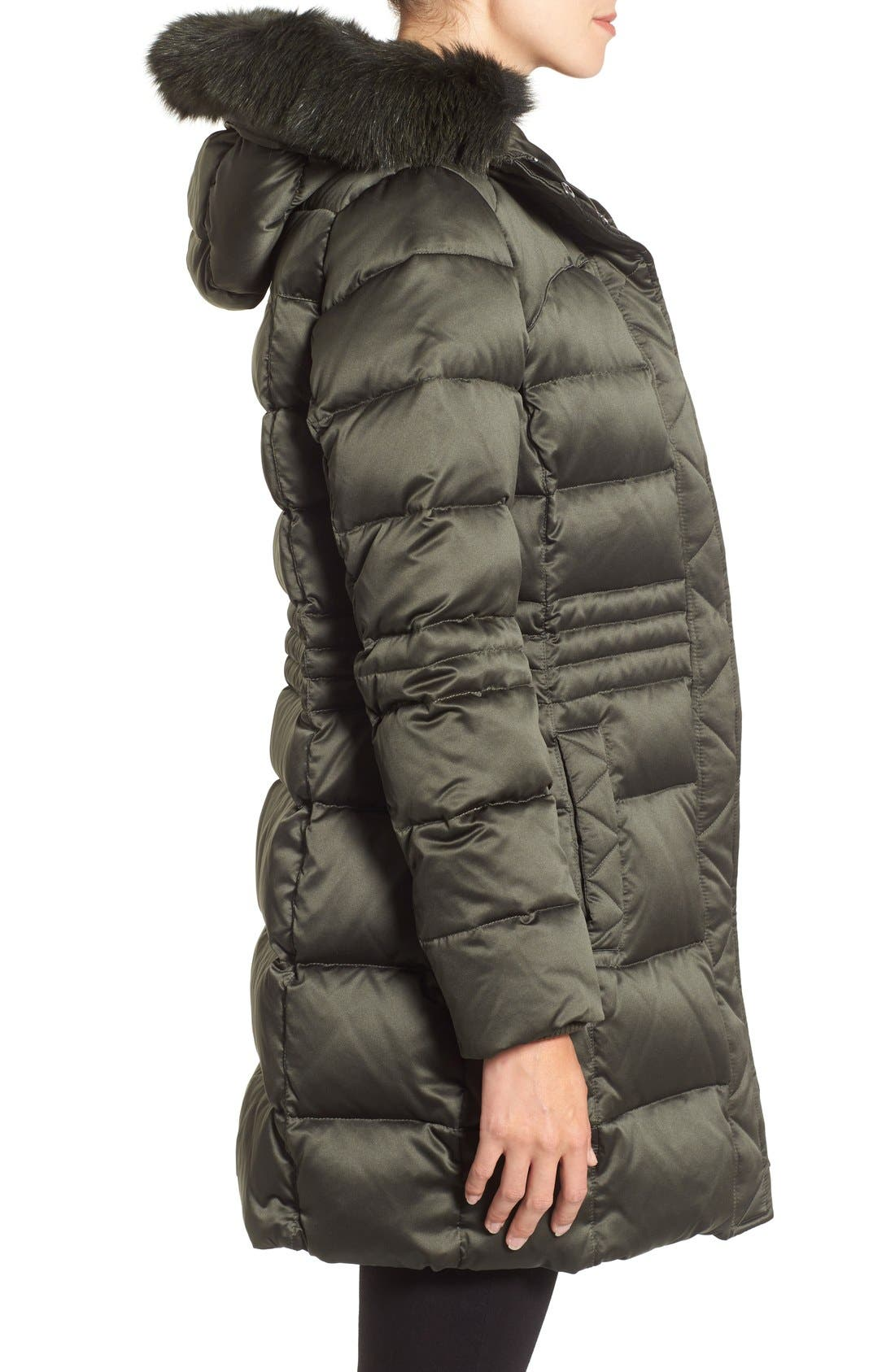 Down Coat with Genuine Fox Fur Trim,                             Alternate thumbnail 3, color,                             Loden