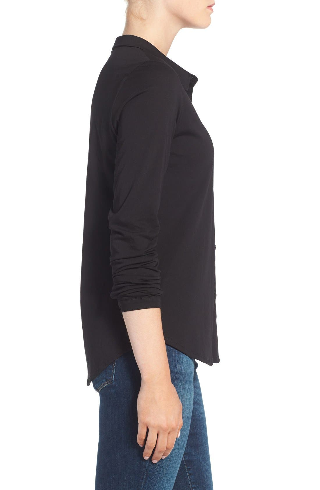 Alternate Image 3  - Eileen Fisher Organic Cotton Jersey Classic Collar Shirt