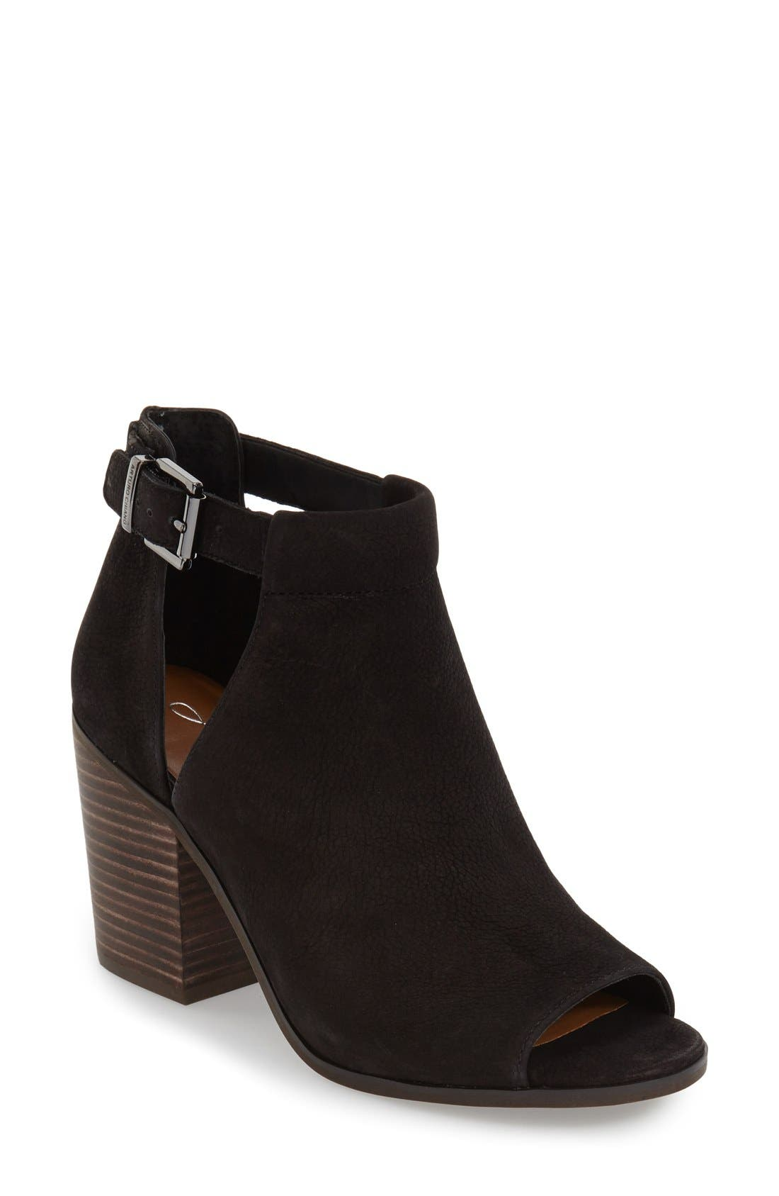'Cordeliah' Split Shaft Peep Toe Bootie,                             Main thumbnail 1, color,                             Black Leather