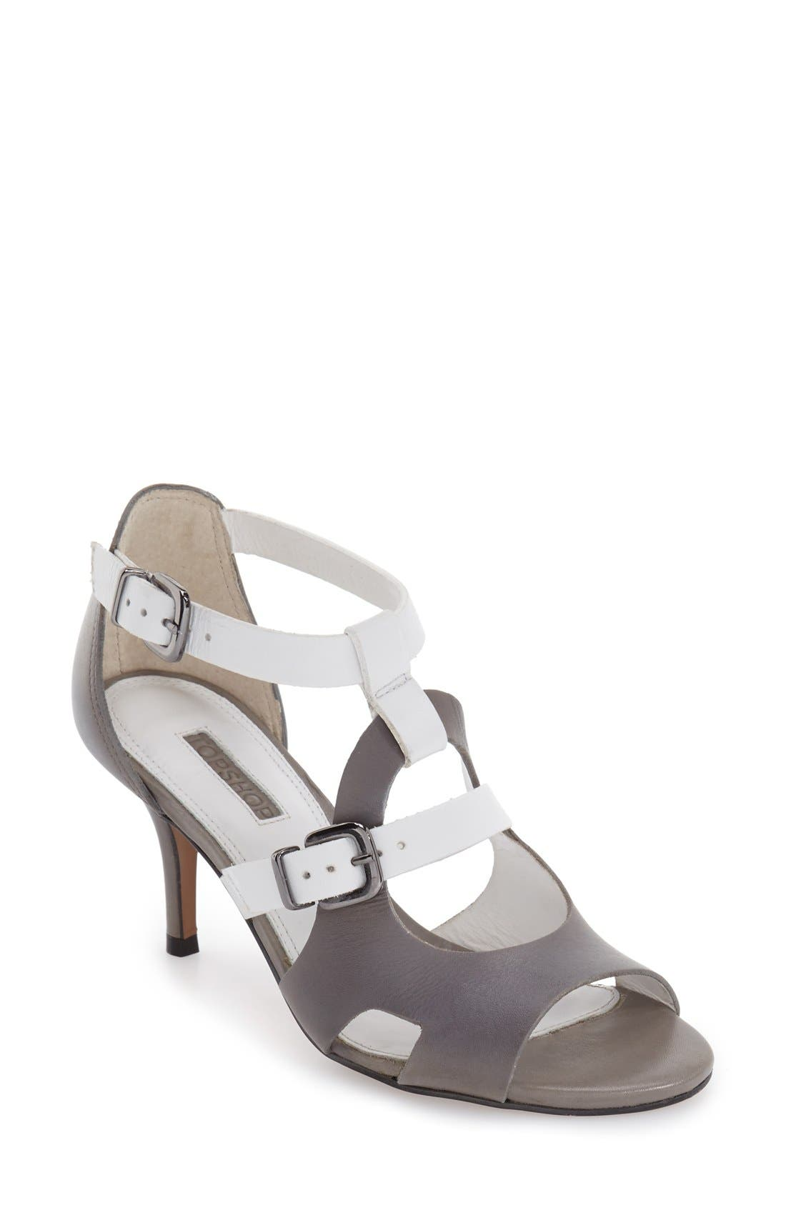 Alternate Image 1 Selected - Topshop 'Needle' Cutout Buckle Sandal (Women)