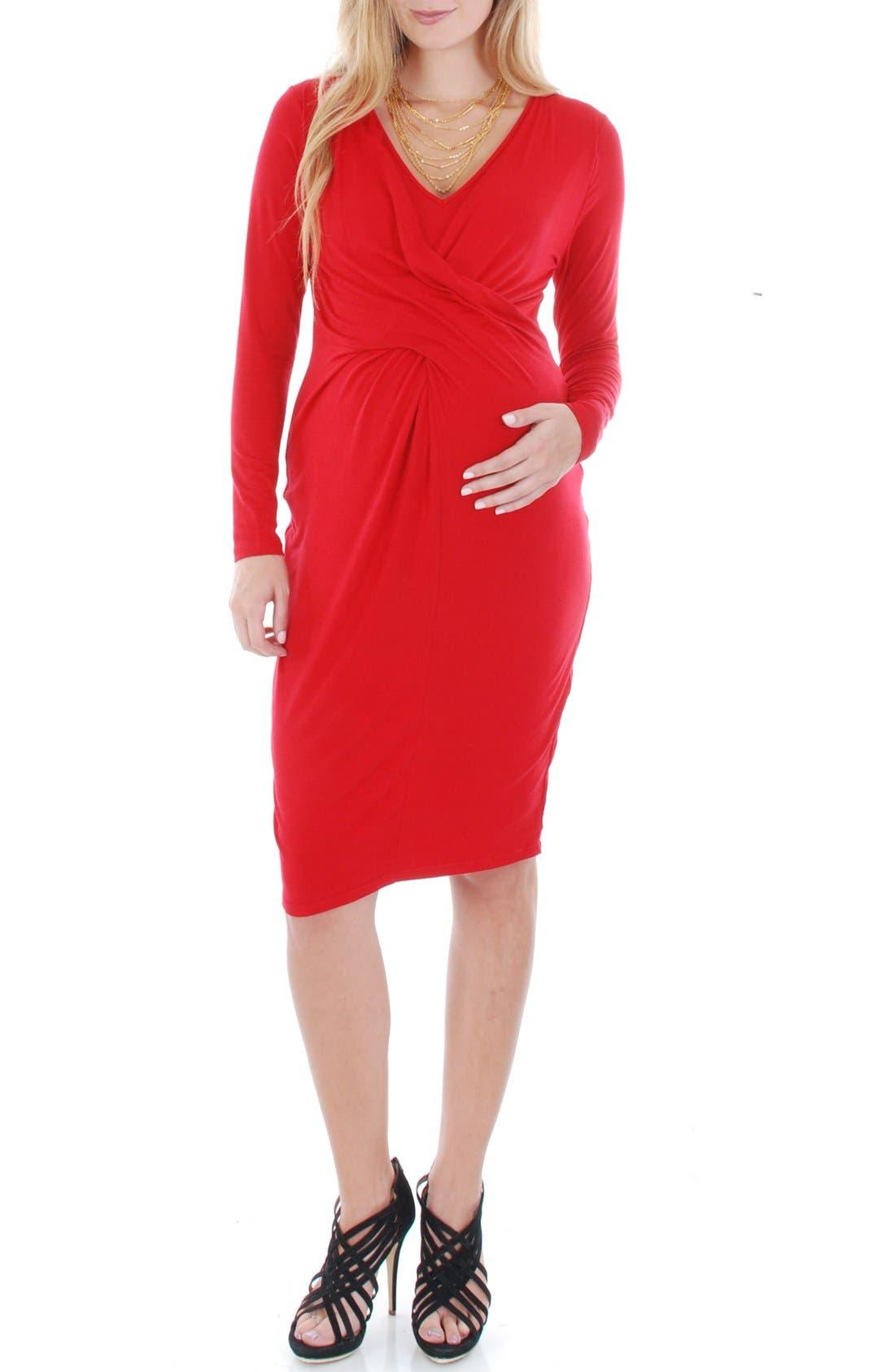 'Sloan' Maternity/Nursing Dress,                             Main thumbnail 1, color,                             Crimson