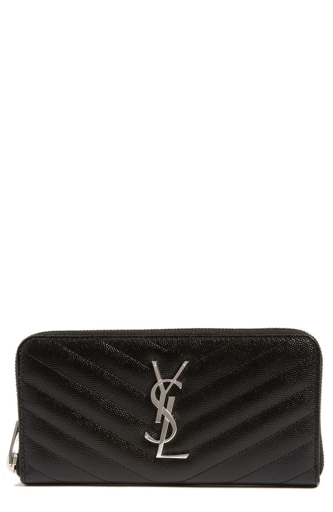 SAINT LAURENT Monogram Zip Around Quilted Calfskin Leather Wallet