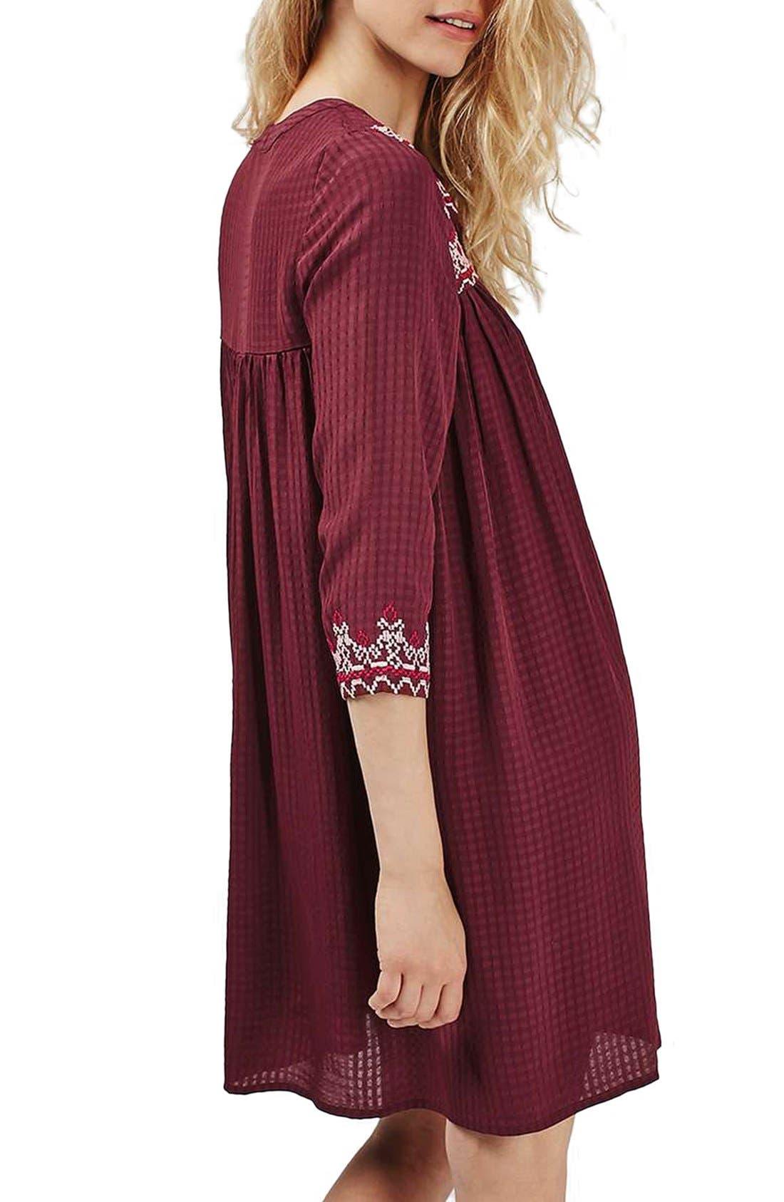 Alternate Image 2  - Topshop Cross Stitched Peasant Dress