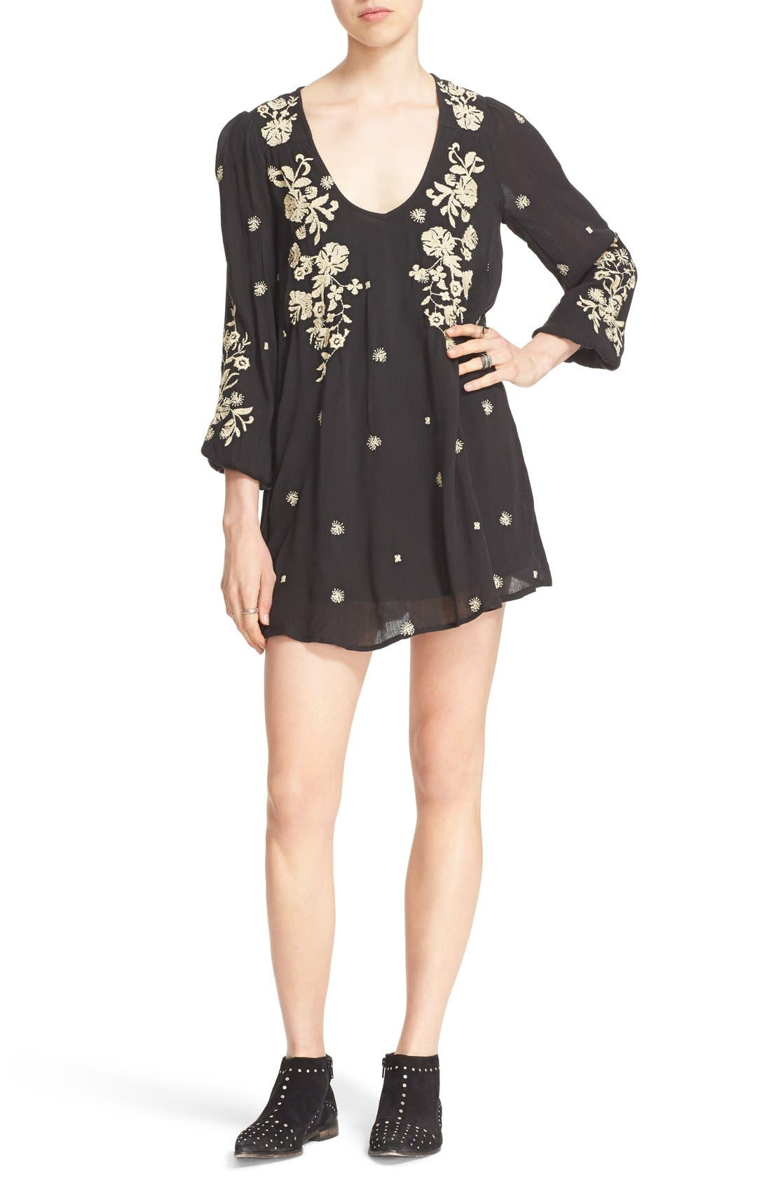 'Sweet Tennessee' Embroidered Minidress,                         Main,                         color, Black Combo