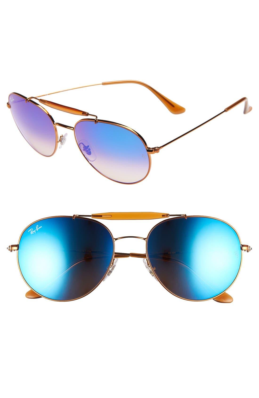 Highstreet 56mm Sunglasses,                         Main,                         color, Medium Blue Flash