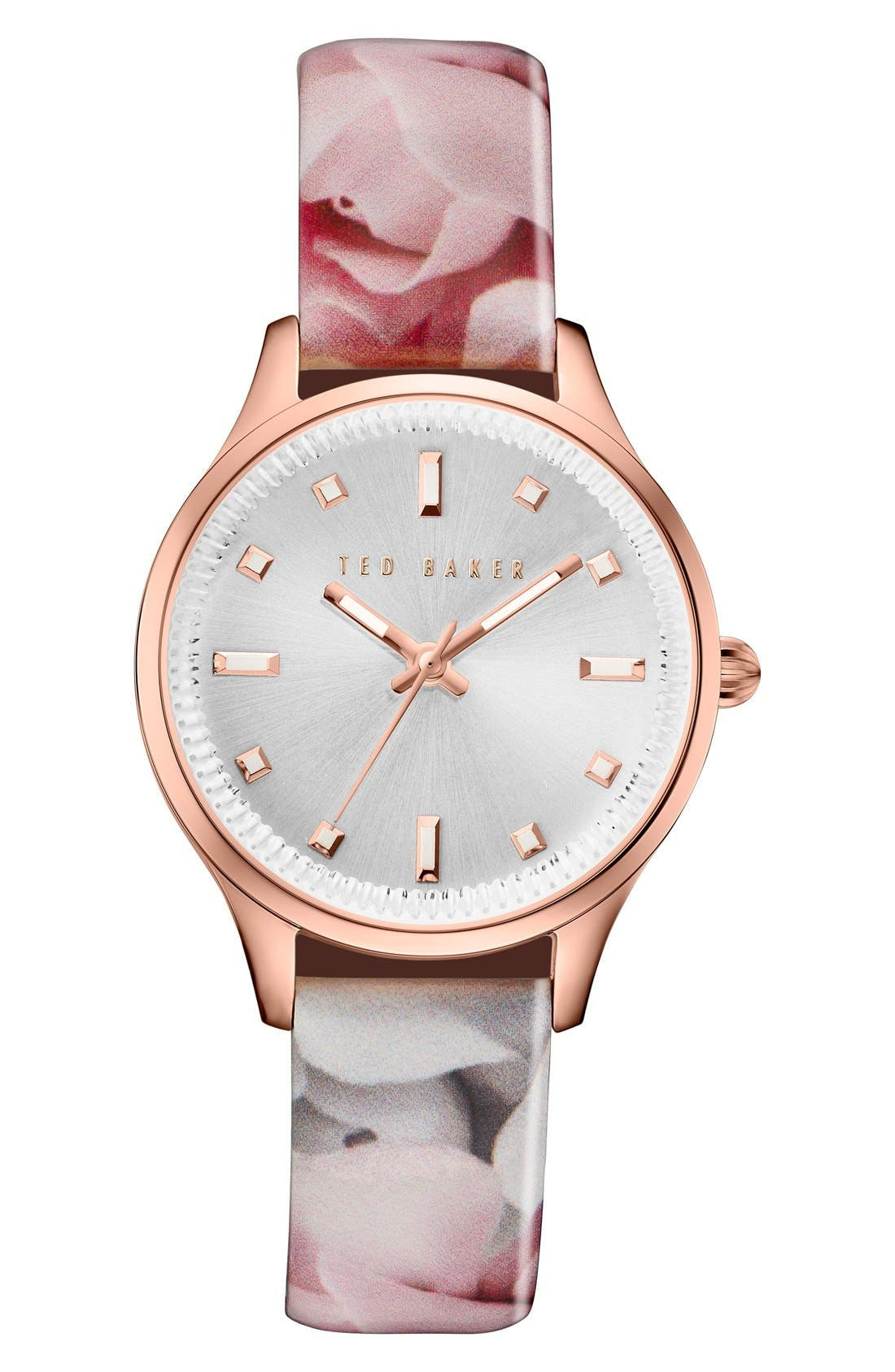 TED BAKER LONDON Dress Sport Patent Leather Strap Watch, 32mm