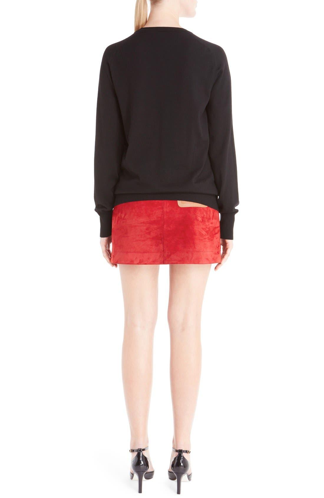 Wool Blend Intarsia Sweater,                             Alternate thumbnail 2, color,                             Black