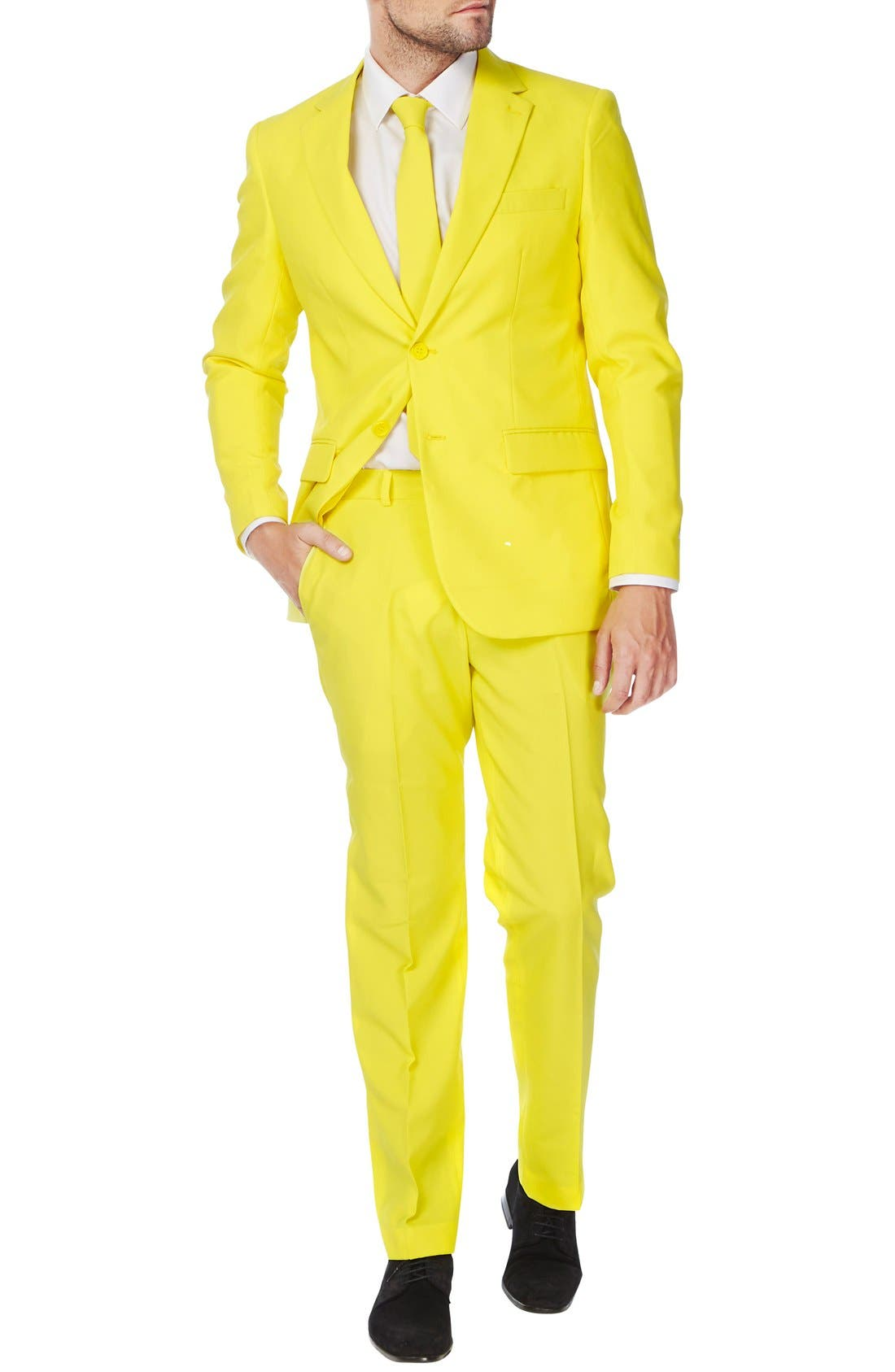 'Yellow Fellow' Trim Fit Two-Piece Suit with Tie,                             Alternate thumbnail 4, color,                             Yellow