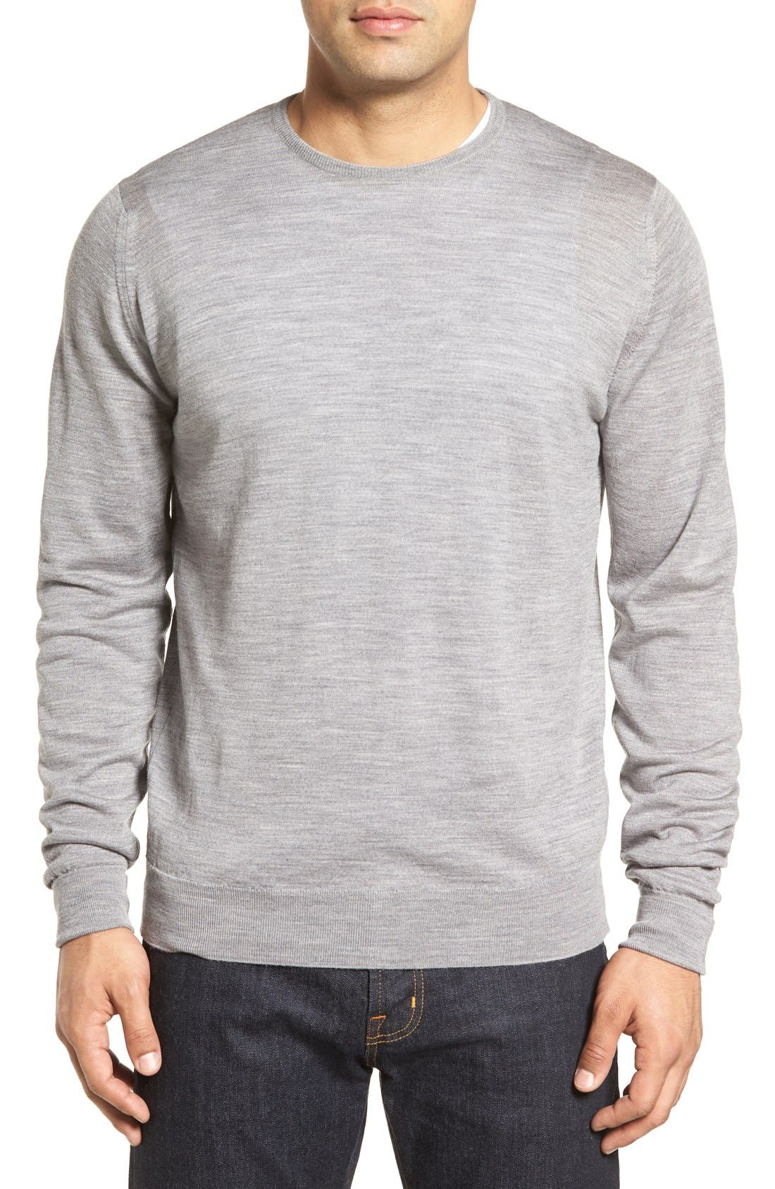 'Marcus' Easy Fit Crewneck Wool Sweater,                             Main thumbnail 1, color,                             Silver