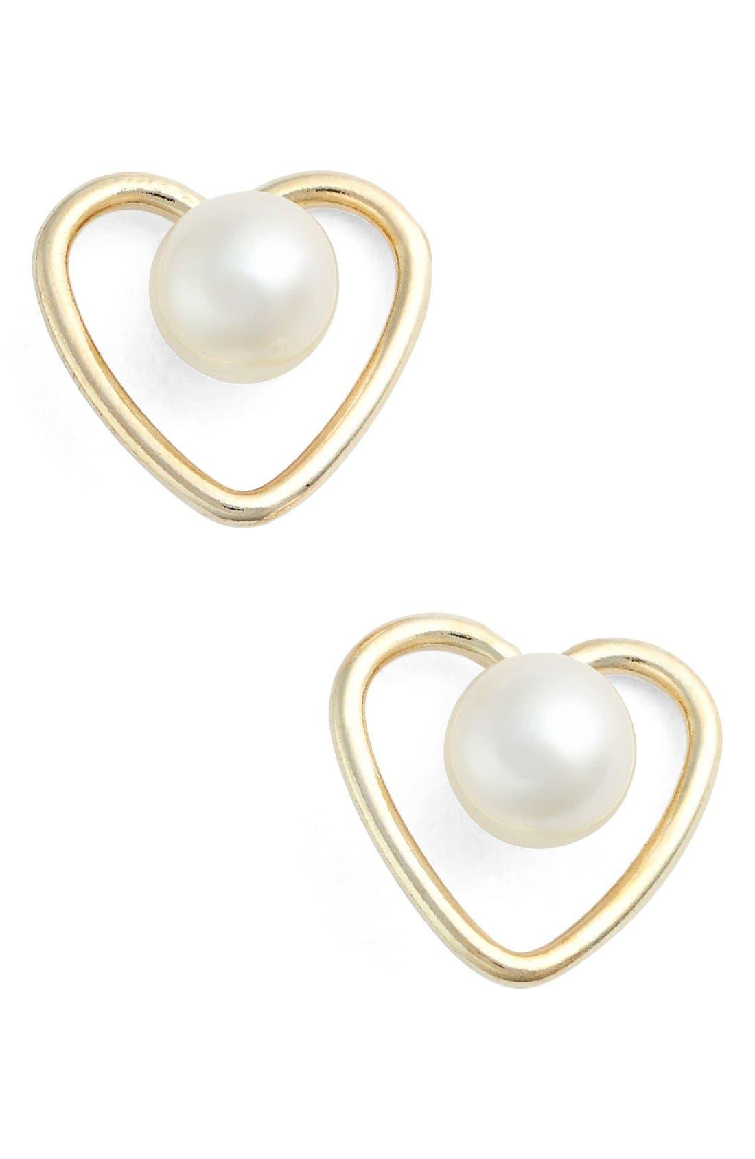 Kardee Jewelry Cultured Pearl Heart Earrings (Big Kids)