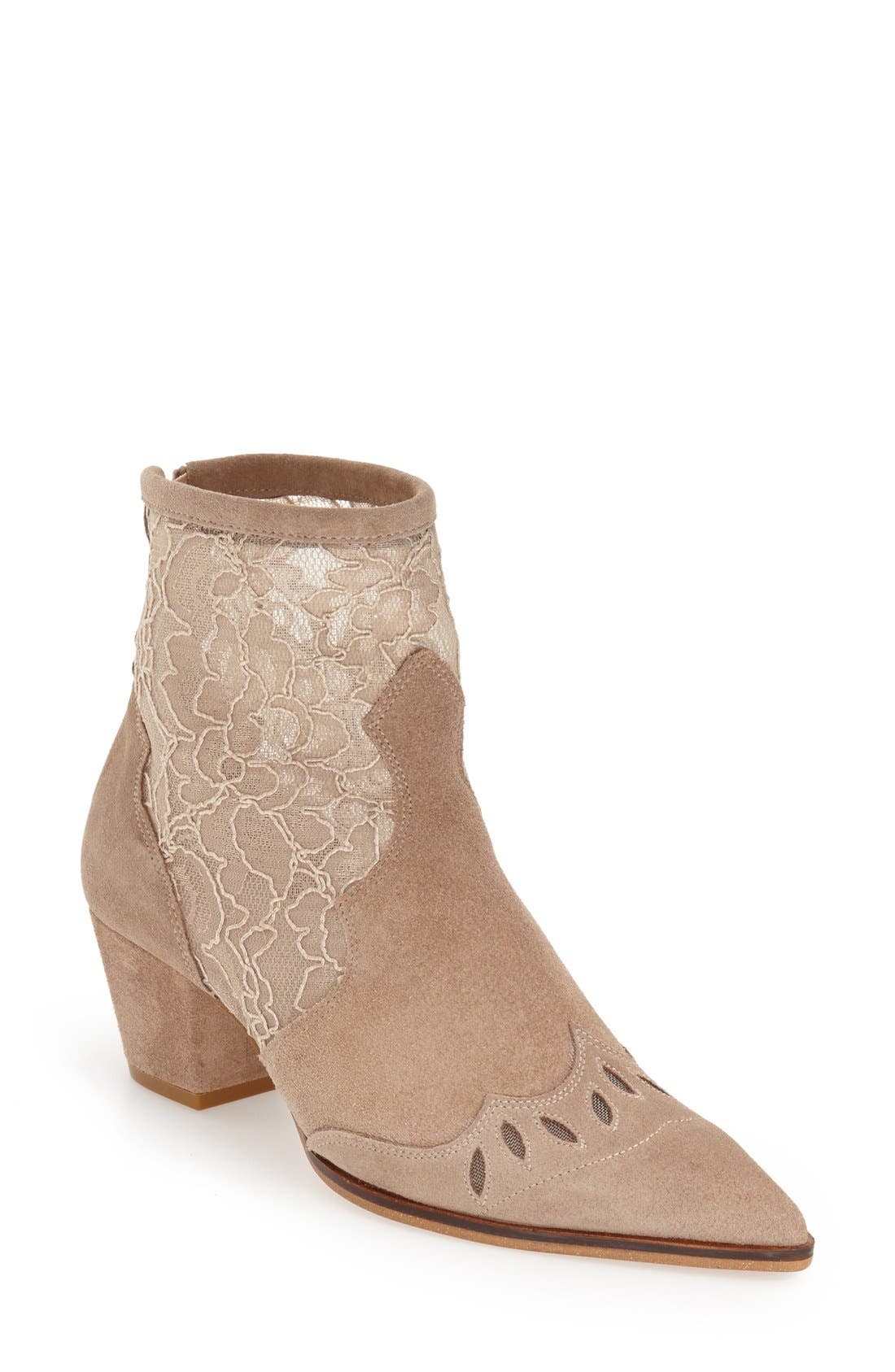 Main Image - Topshop 'Alegra' Lace Pointy Toe Boot (Women)