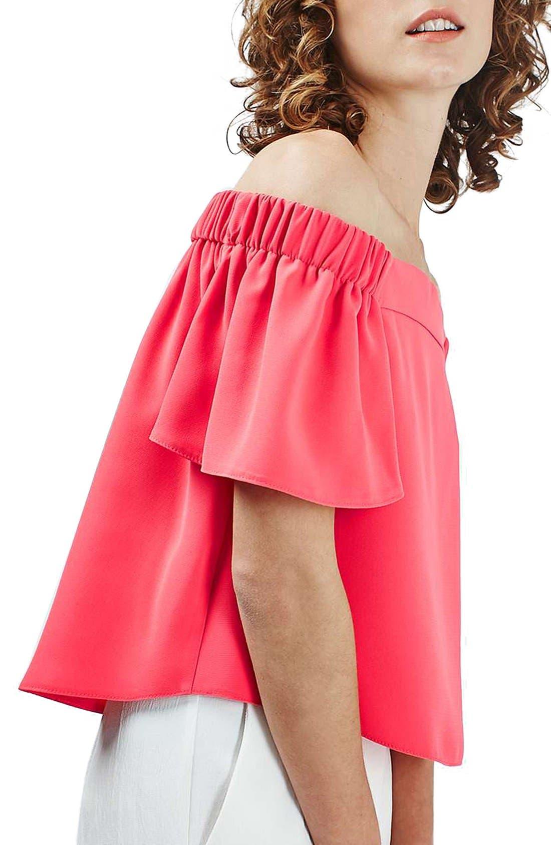 Main Image - Topshop 'Livi' Off the Shoulder Top (Regular & Petite)
