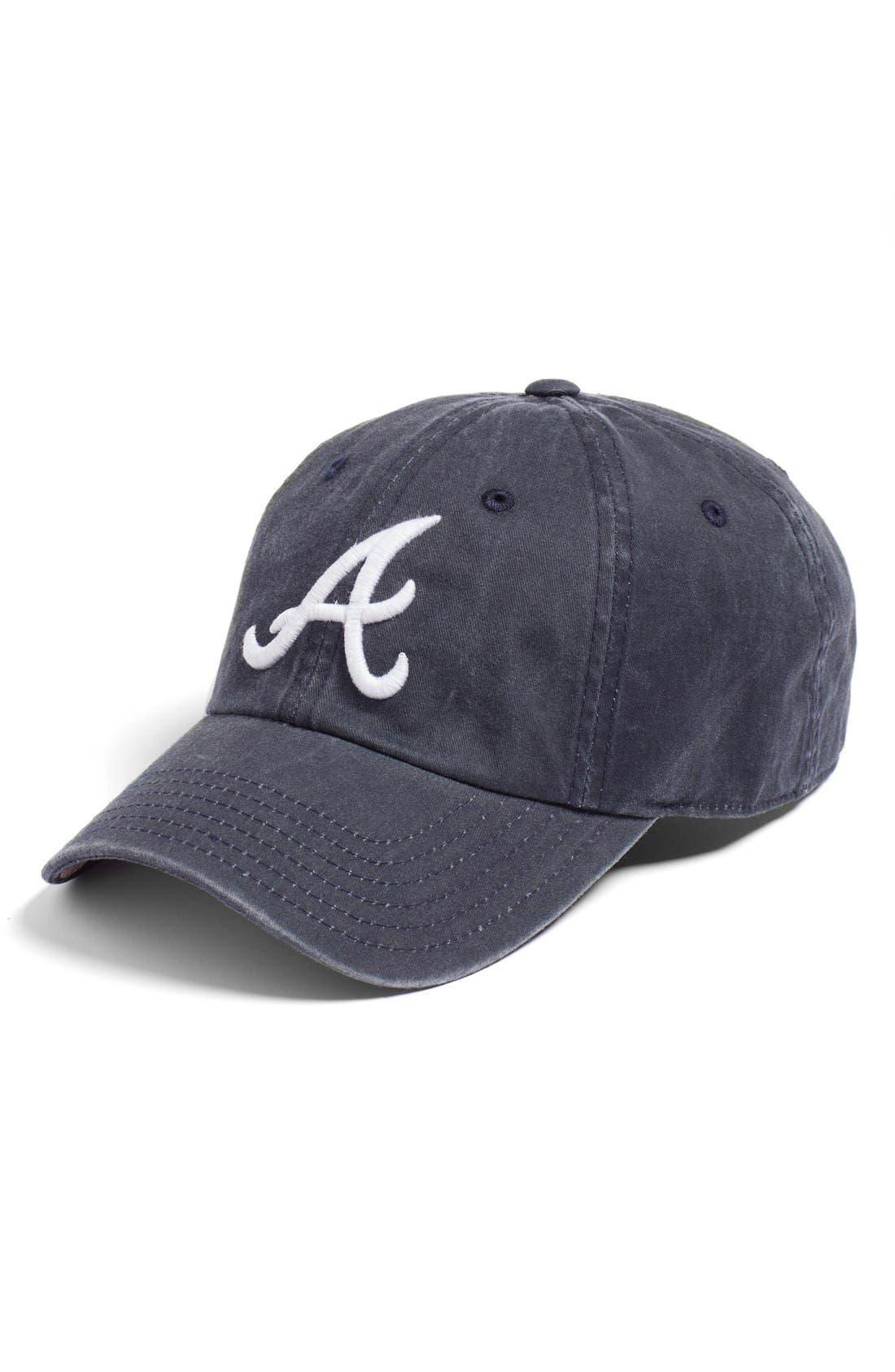 New Raglan - Atlanta Braves Baseball Cap,                         Main,                         color, Navy