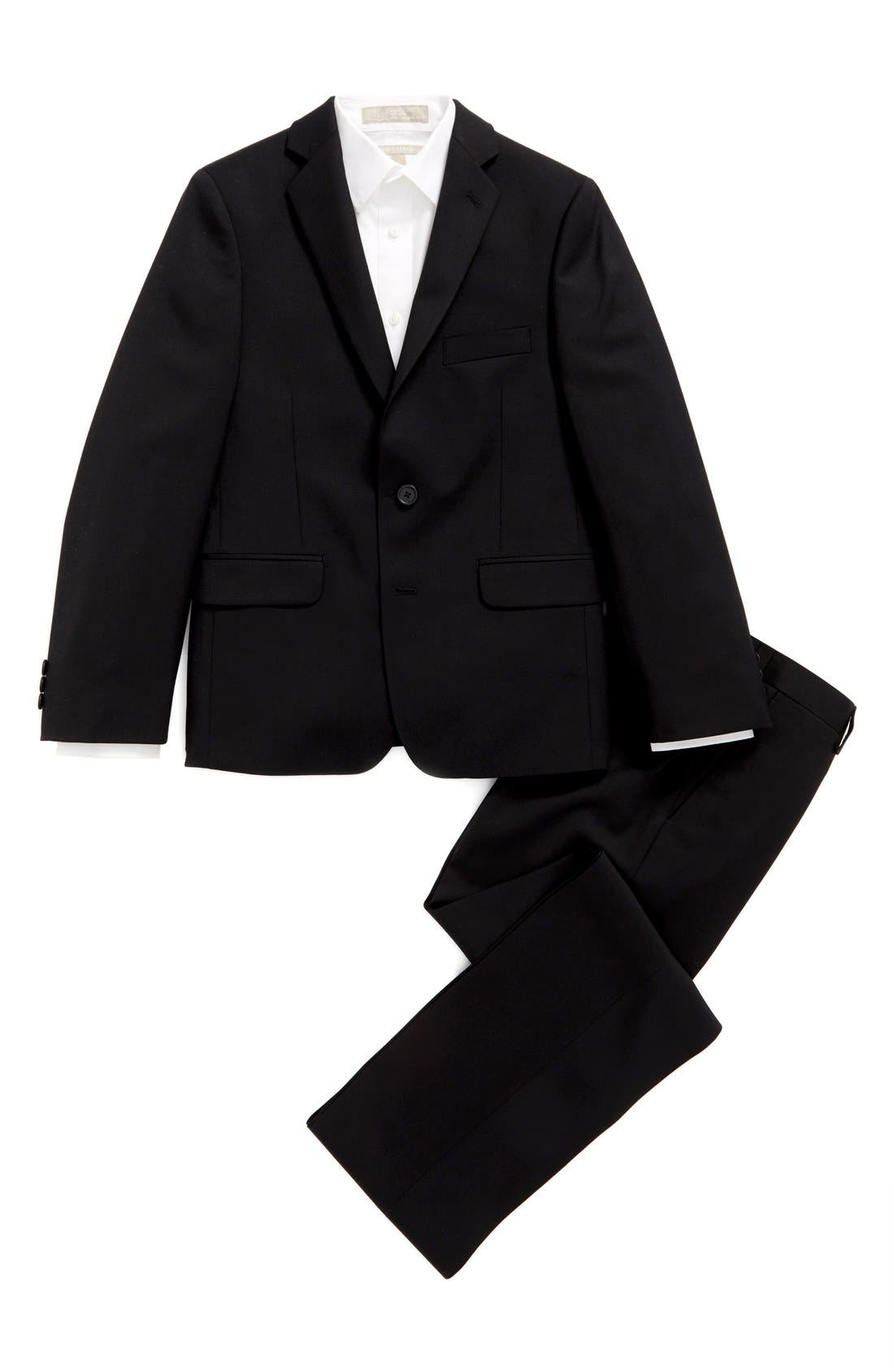 DKNY 'Tonal Neat' Wool Suit (Big Boys)