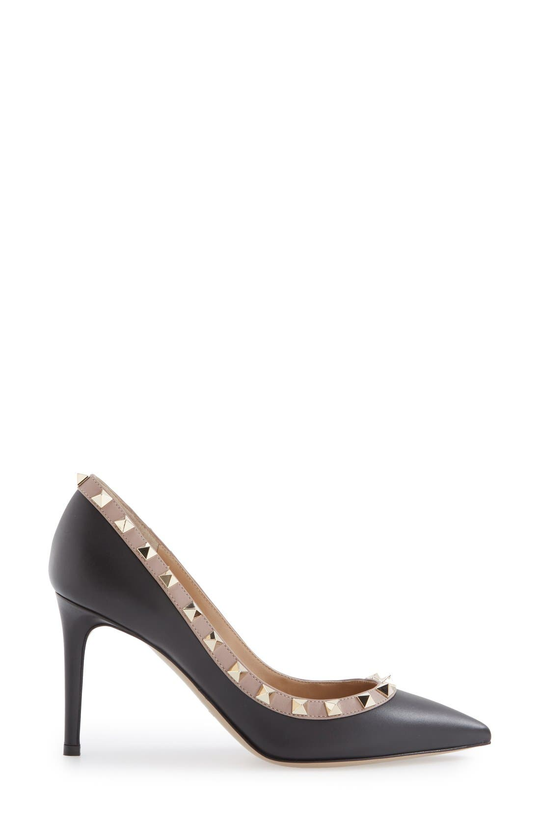 Rockstud Pointy Toe Pump,                             Alternate thumbnail 4, color,                             Black Leather