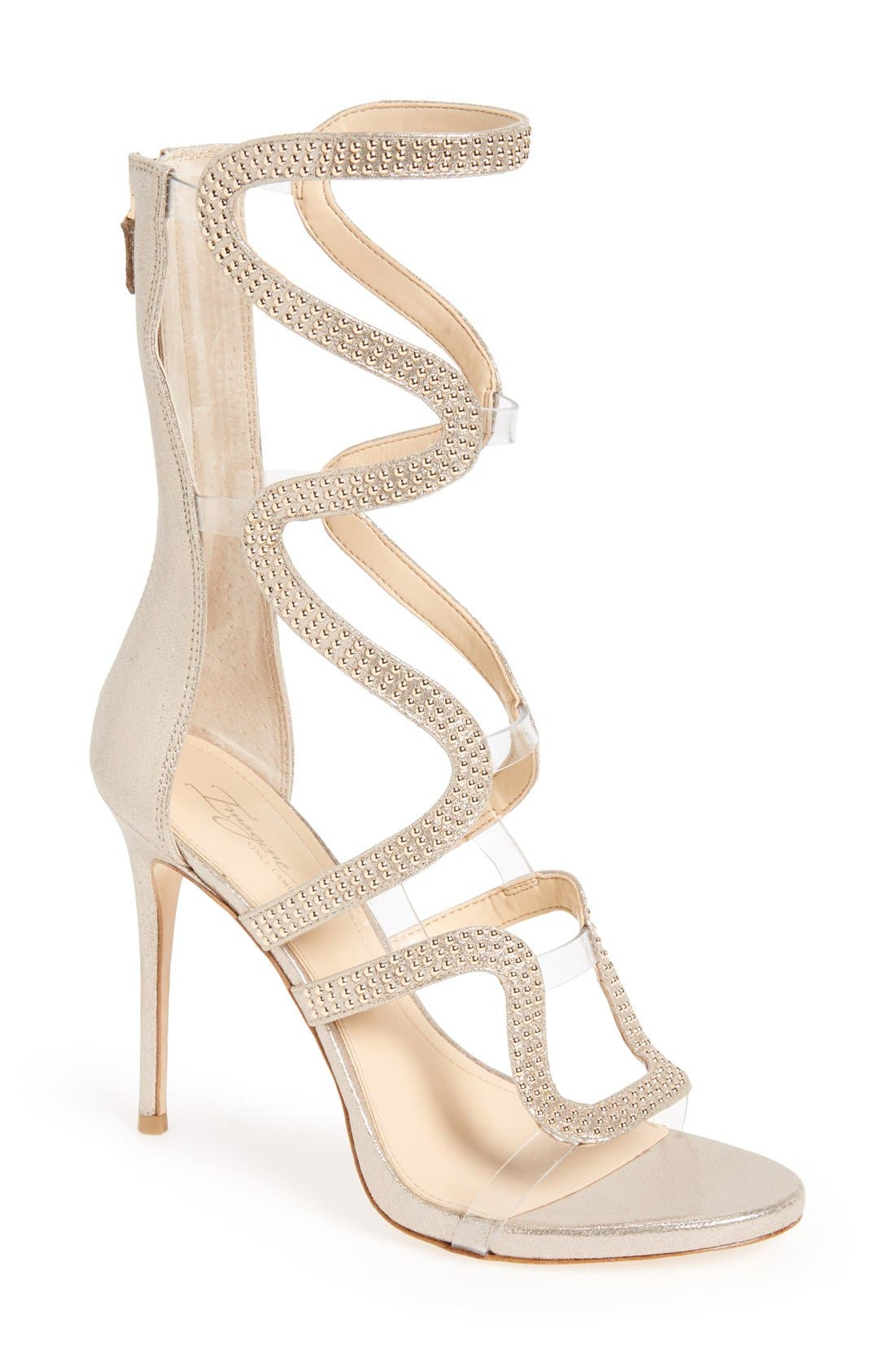Imagine Vince Camuto 'Dash' Cage Sandal,                             Main thumbnail 1, color,                             Soft Gold Satin