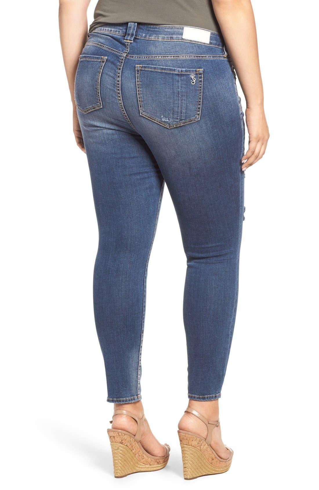 Alternate Image 3  - SLINK Jeans Ripped Stretch Ankle Skinny Jeans (Danika) (Plus Size)