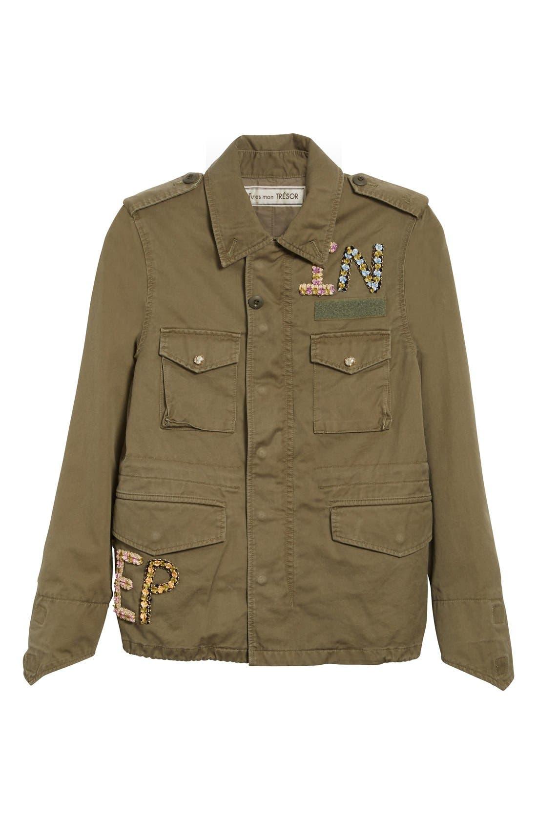 Alternate Image 4  - Tu es mon TRÉSOR 'The End' Embellished Military Jacket