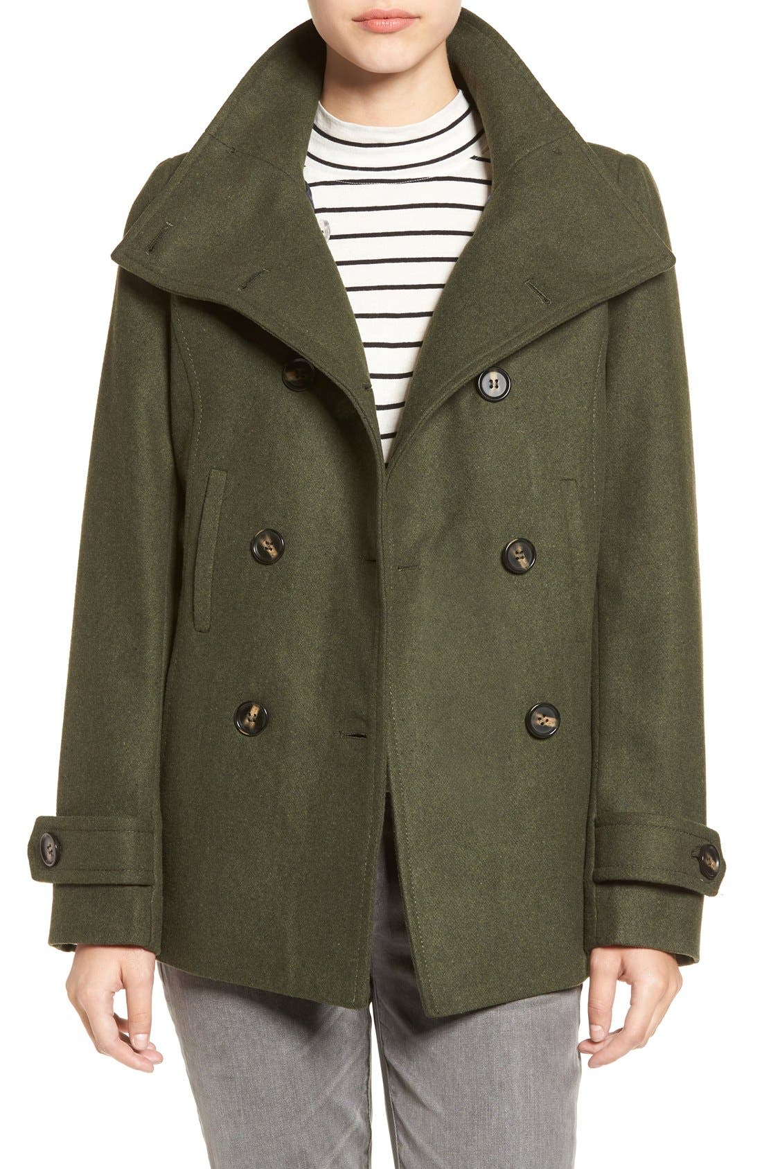 Double Breasted Peacoat,                             Main thumbnail 1, color,                             Hunter Green