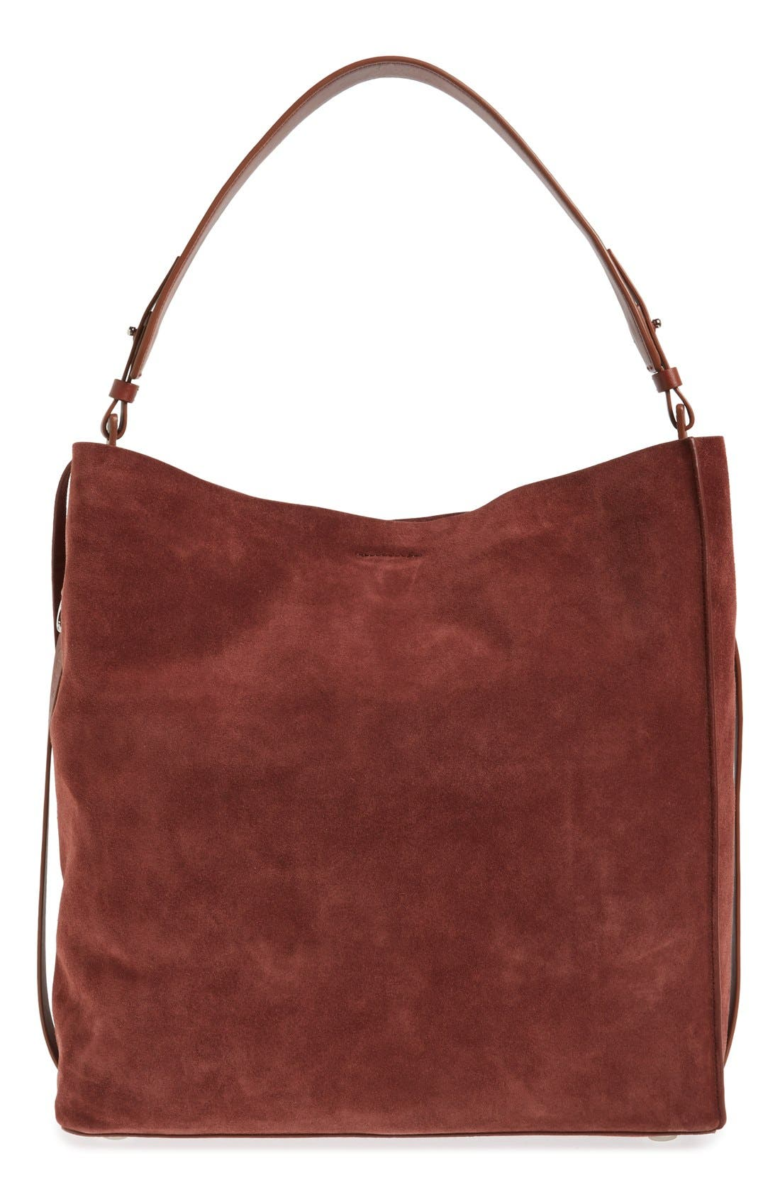 'Paradise - North/South' Suede Tote,                             Main thumbnail 1, color,                             Brandy/ Brick Brown