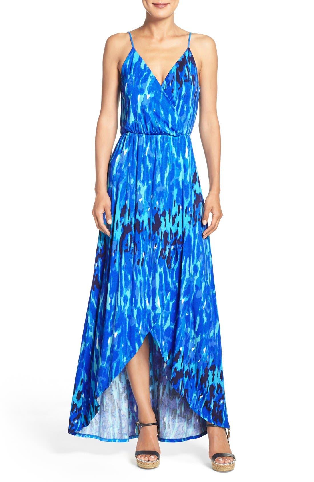 Jersey Faux Wrap Dress,                             Main thumbnail 1, color,                             Blue Print
