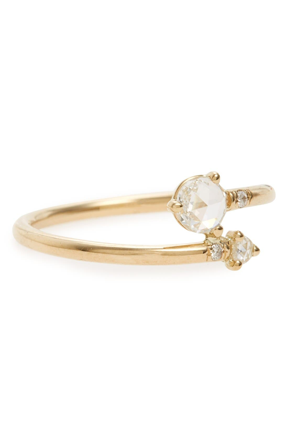Diamond Crossover Ring,                         Main,                         color, Yellow Gold