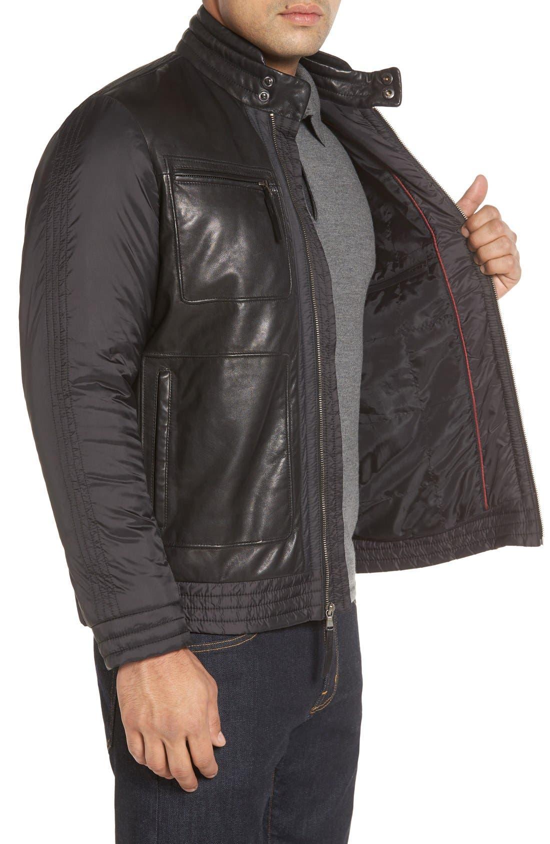 Alternate Image 3  - Missani Le Collezioni Leather Trimmed Nylon Jacket