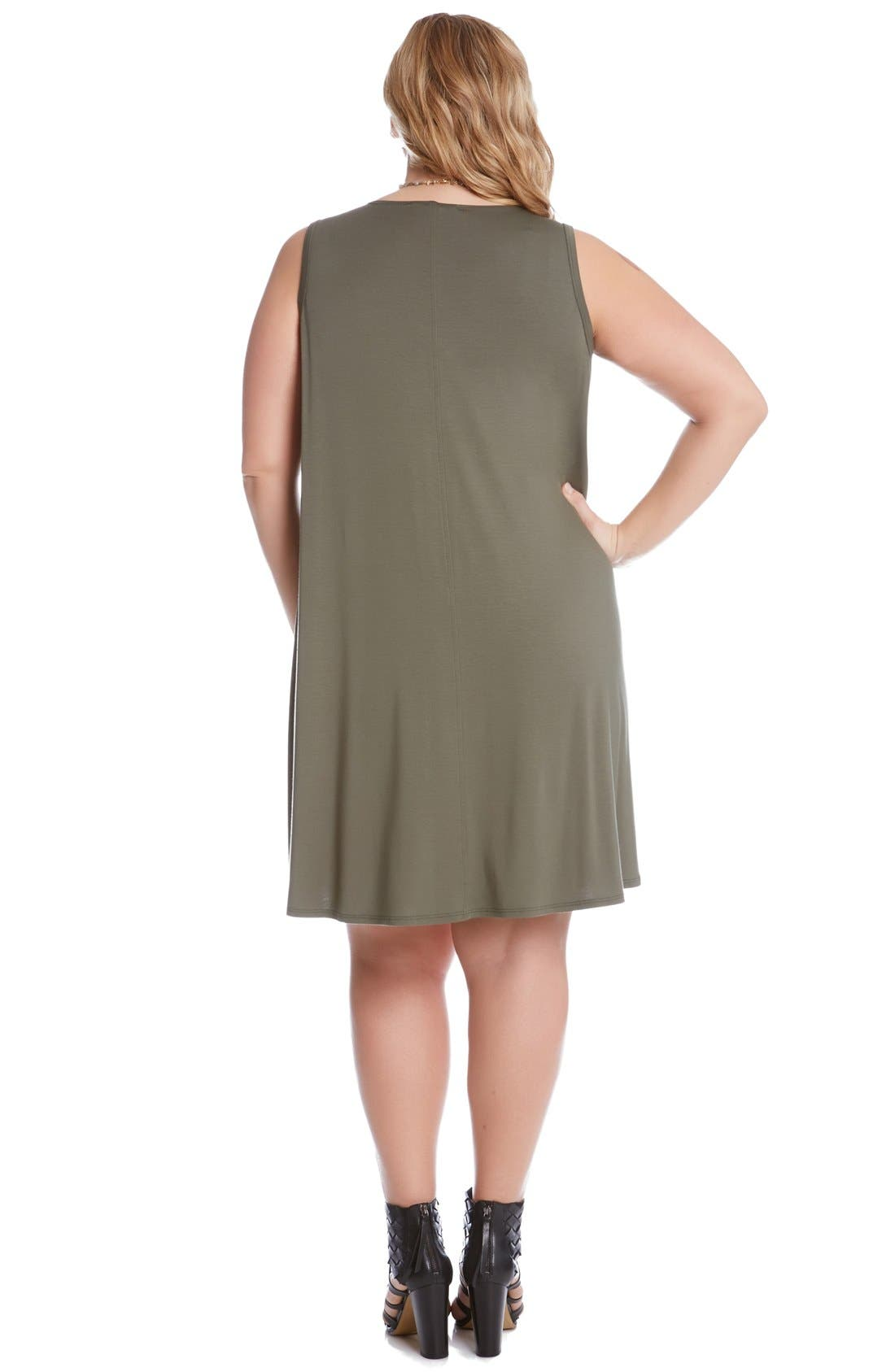 'Maggie' Sleeveless Trapeze Dress,                             Alternate thumbnail 2, color,                             Olive