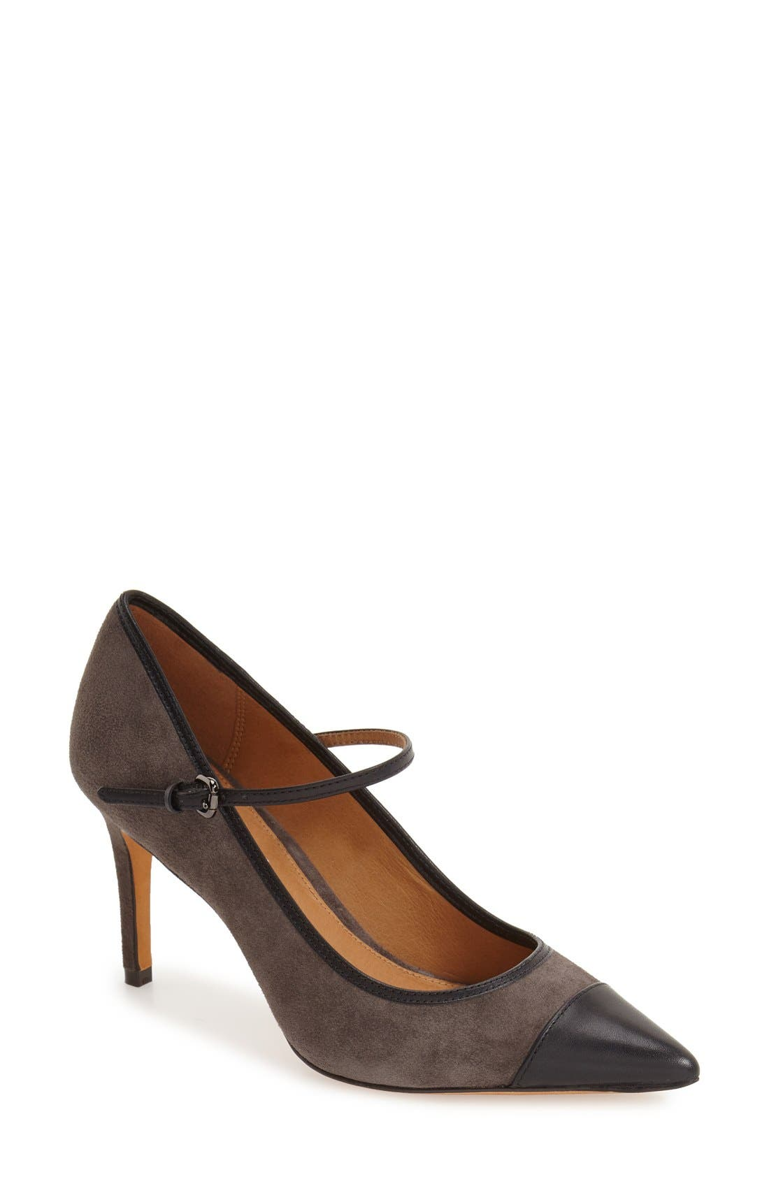 'Smith' Mary Jane Pump,                             Main thumbnail 1, color,                             Mink/ Black Suede