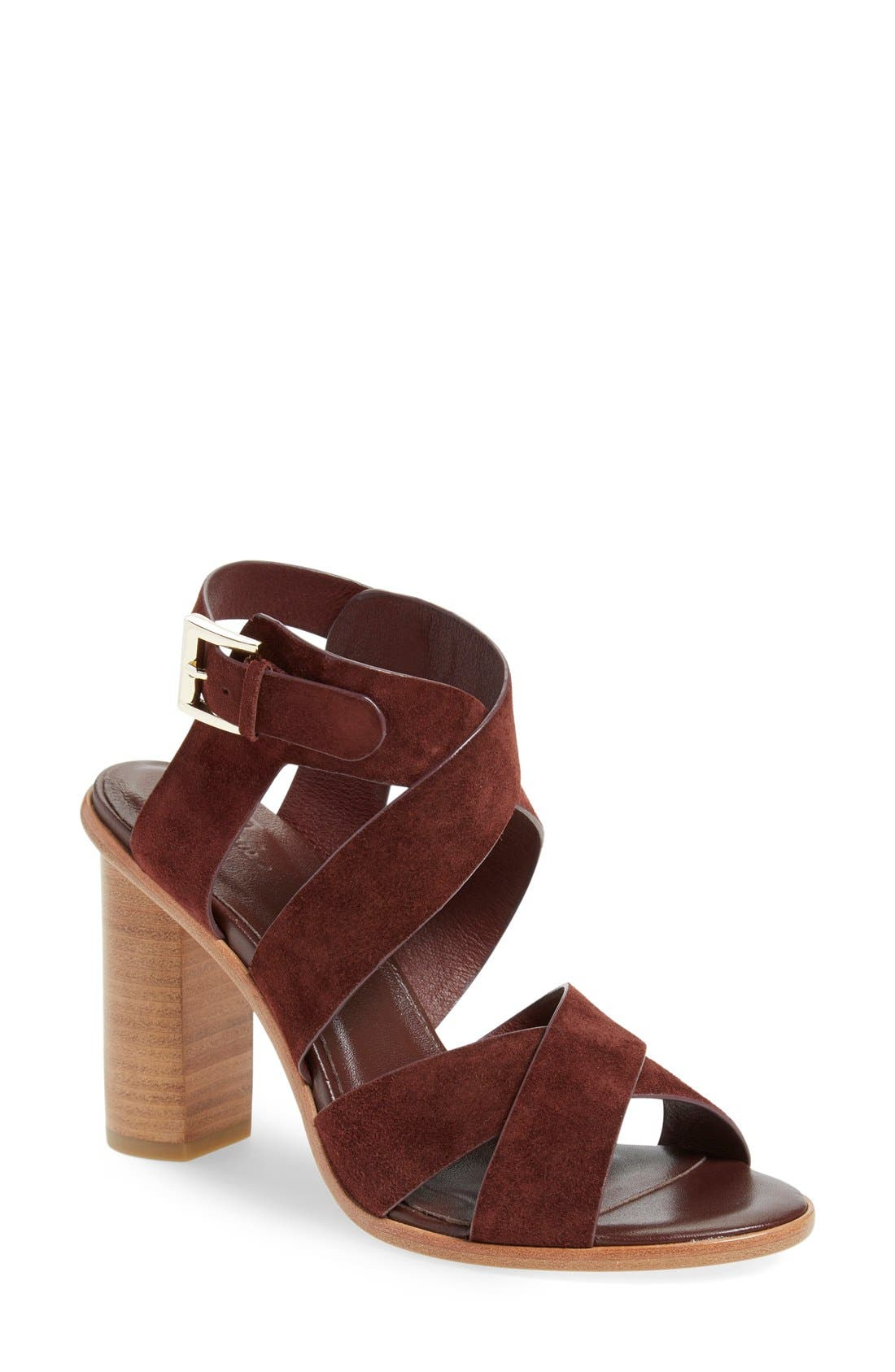 'Avery' Crisscross Block Heel Sandal,                             Main thumbnail 1, color,                             Oxblood Suede