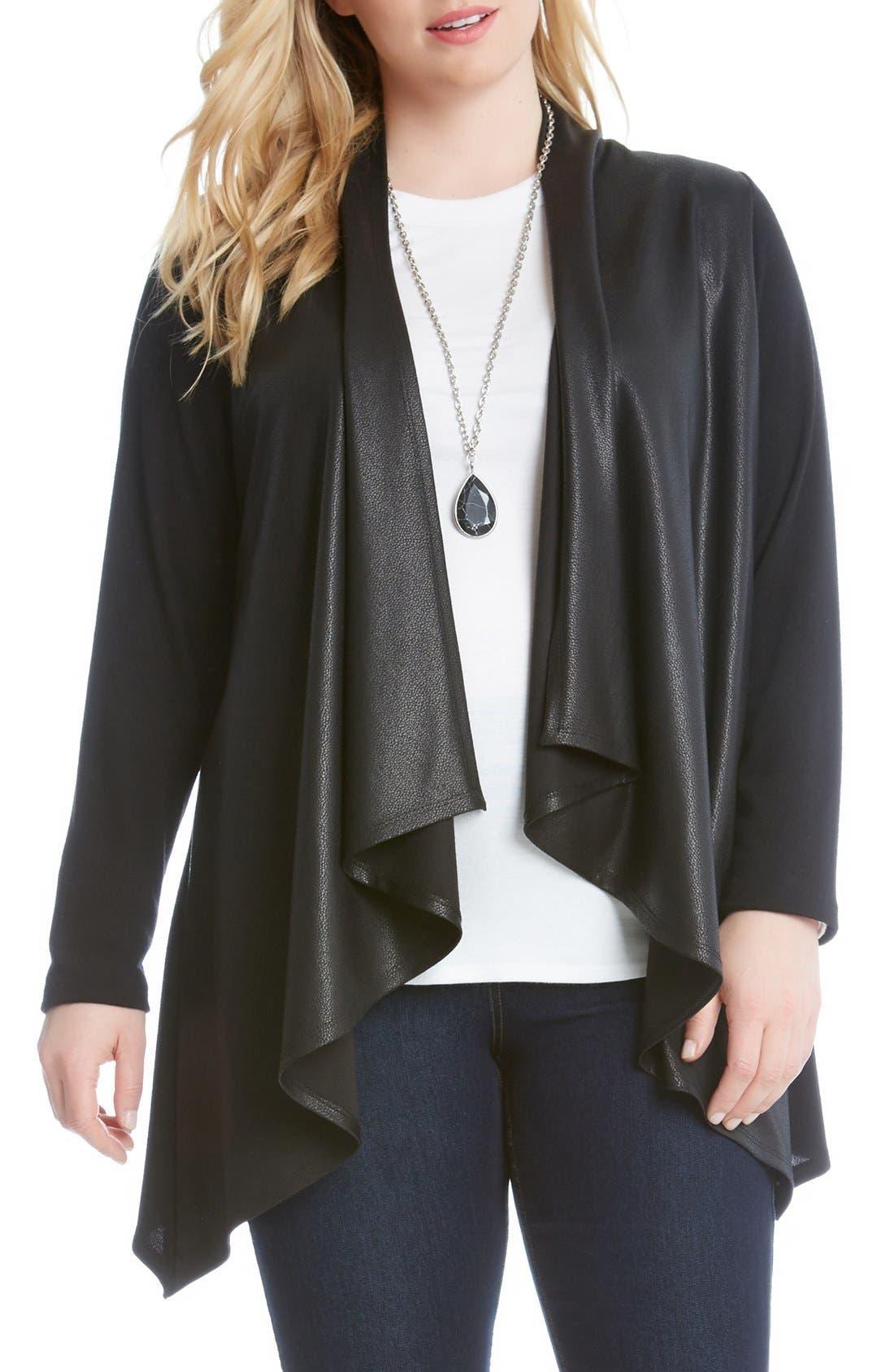 Karen Kane Faux Leather Front Knit Jacket (Plus Size)