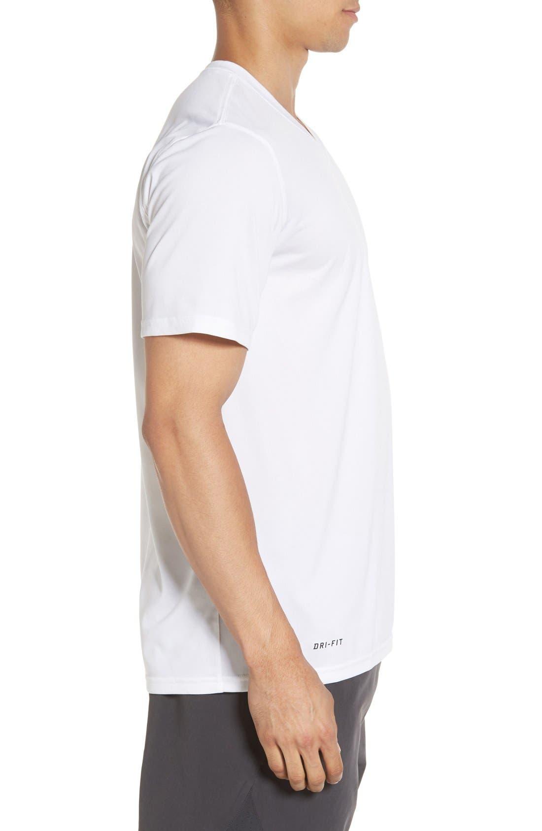 'Legend 2.0' Dri-FIT Training T-Shirt,                             Alternate thumbnail 3, color,                             White/ Black/ Black