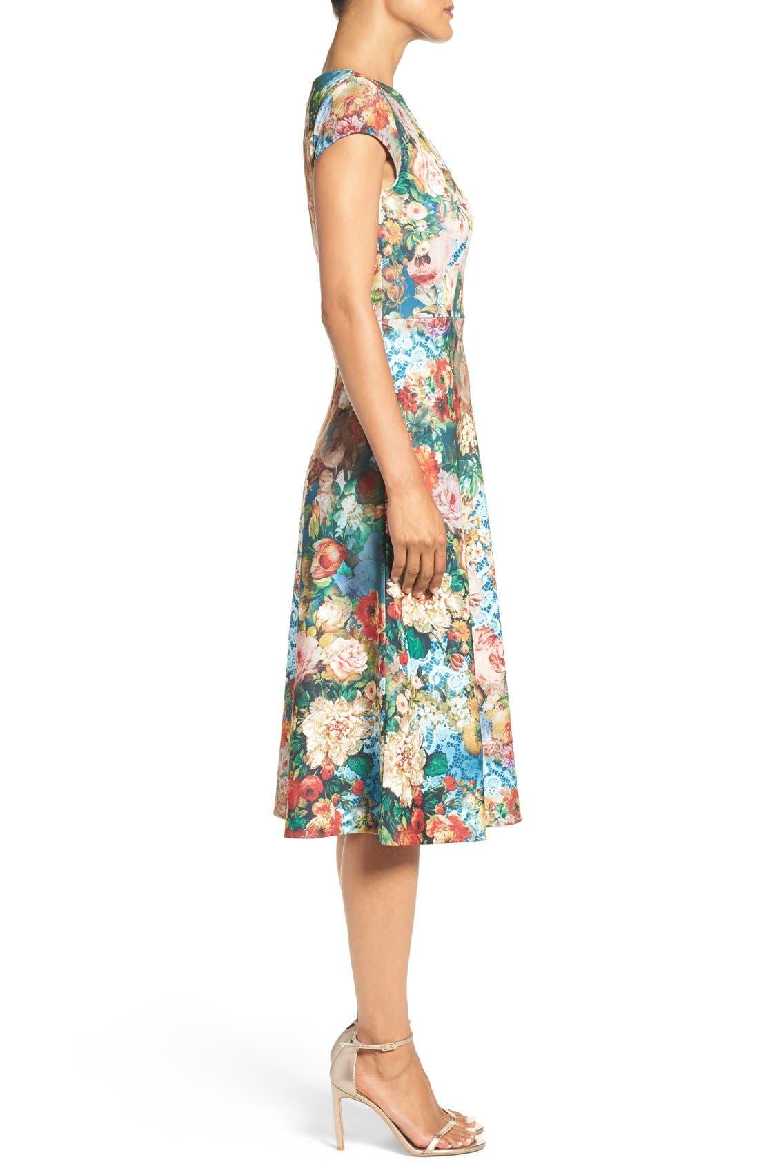 Alternate Image 3  - ECI Floral Scuba Fit & Flare Midi Dress