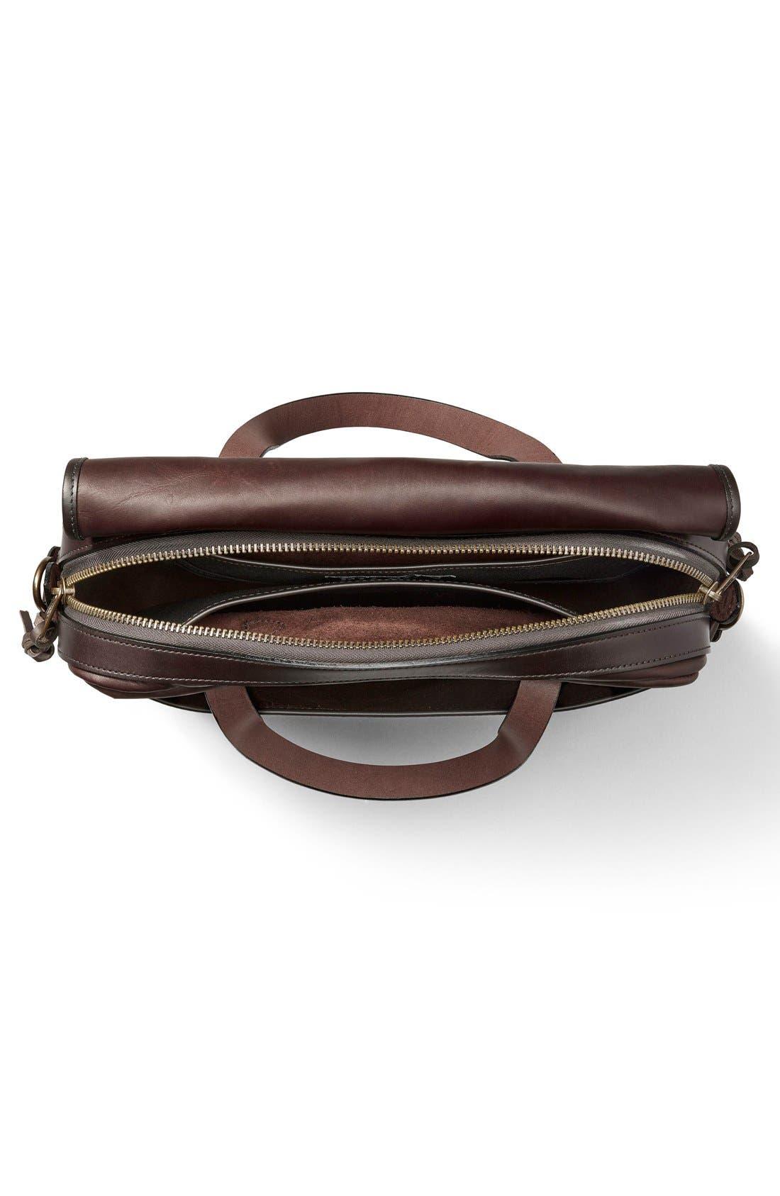 Weatherproof Leather Briefcase,                             Alternate thumbnail 3, color,                             Sierra Brown
