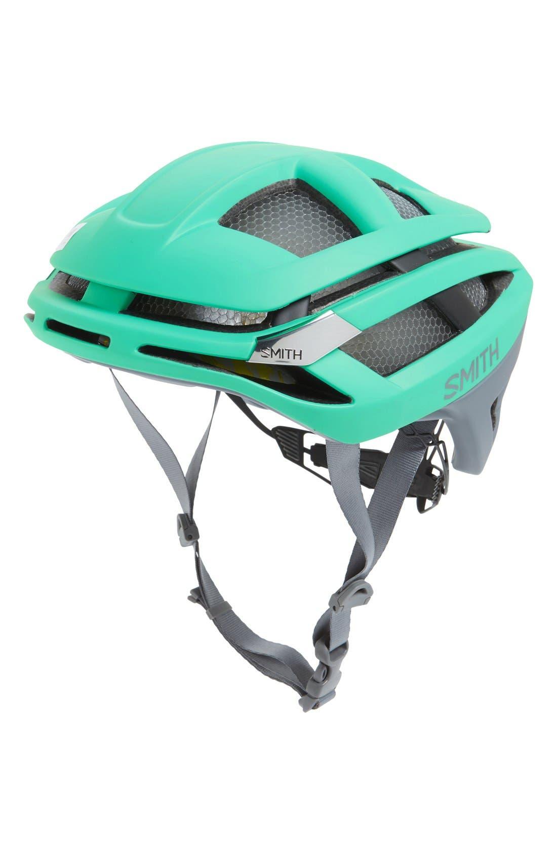 'Overtake With Mips' Biking Racer Helmet - Blue/Green, Matte Opal/ Charcoal