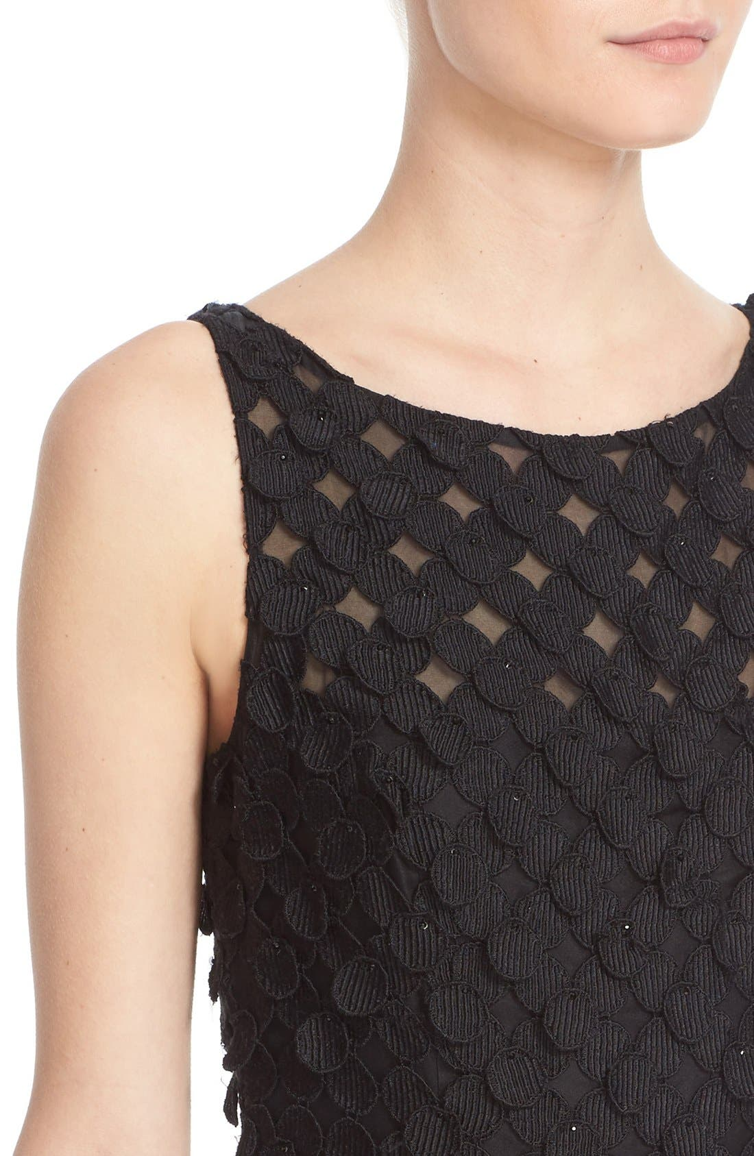 Circle Appliqué Sleeveless Sheath Dress,                             Alternate thumbnail 5, color,                             Black