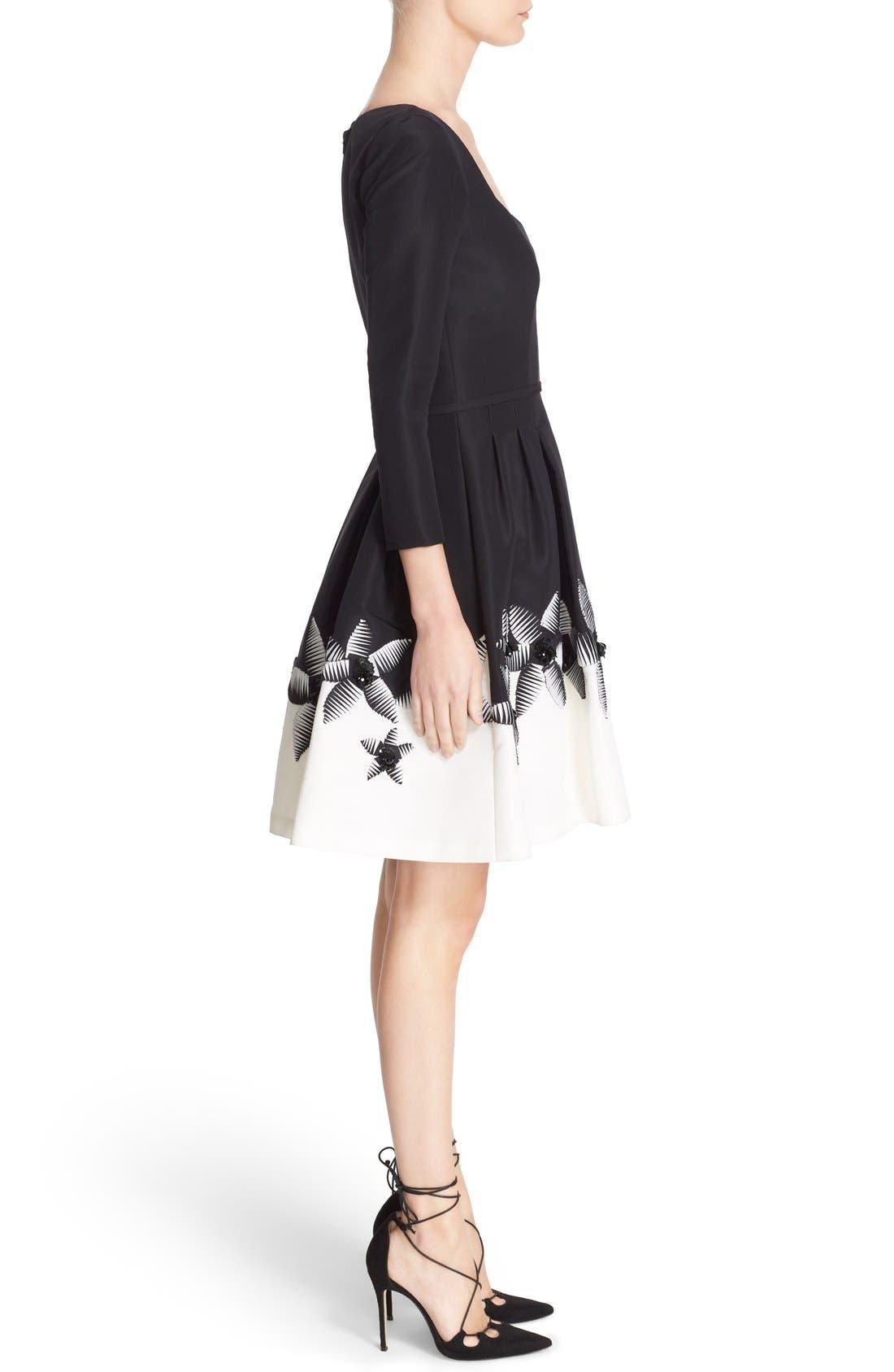 Alternate Image 4  - Carolina Herrera Embellished Two-Tone Scoop Neck Faille Fit & Flare Dress